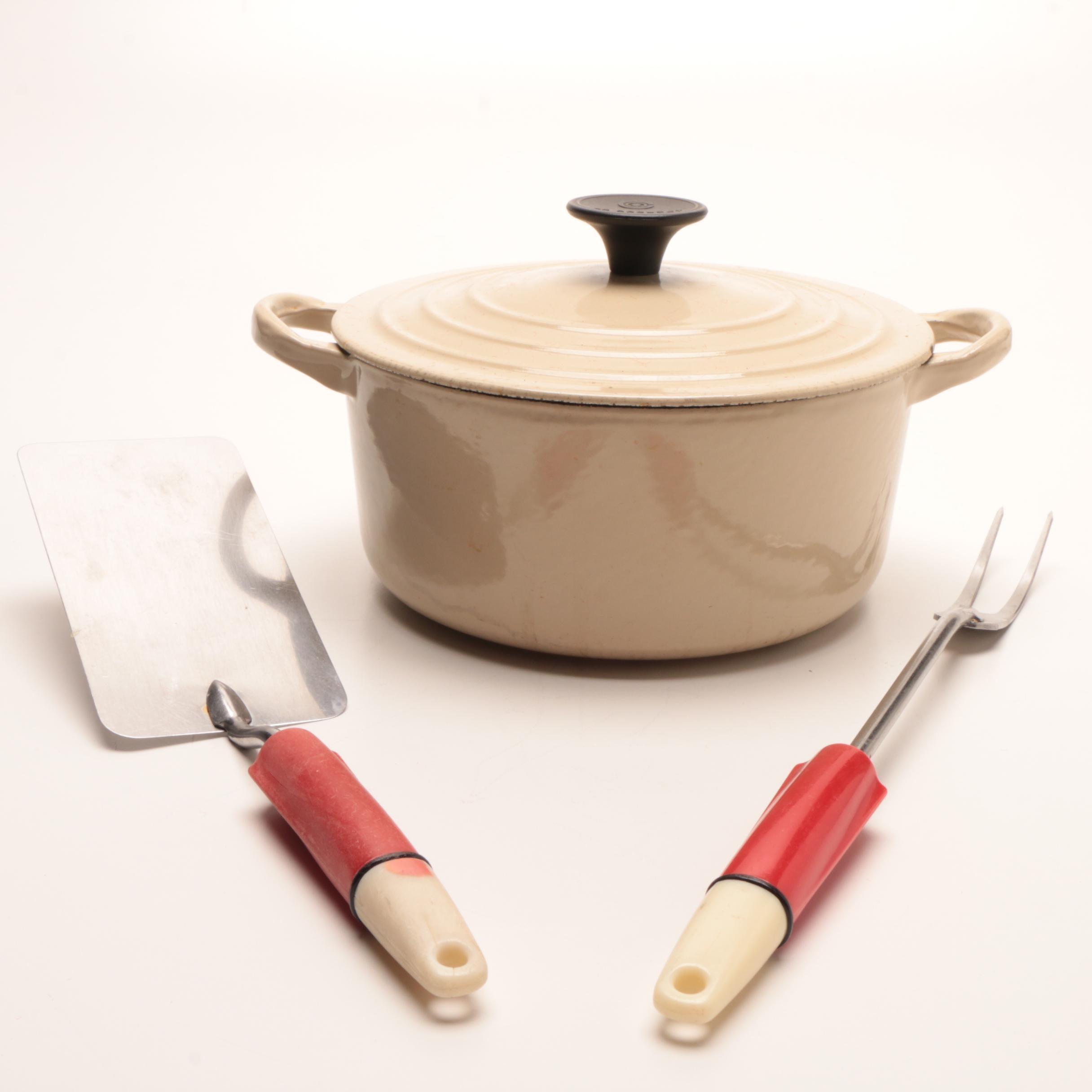 Le Creuset Enameled Cast Iron Dutch Oven and Ekcoline Kitchen Tools