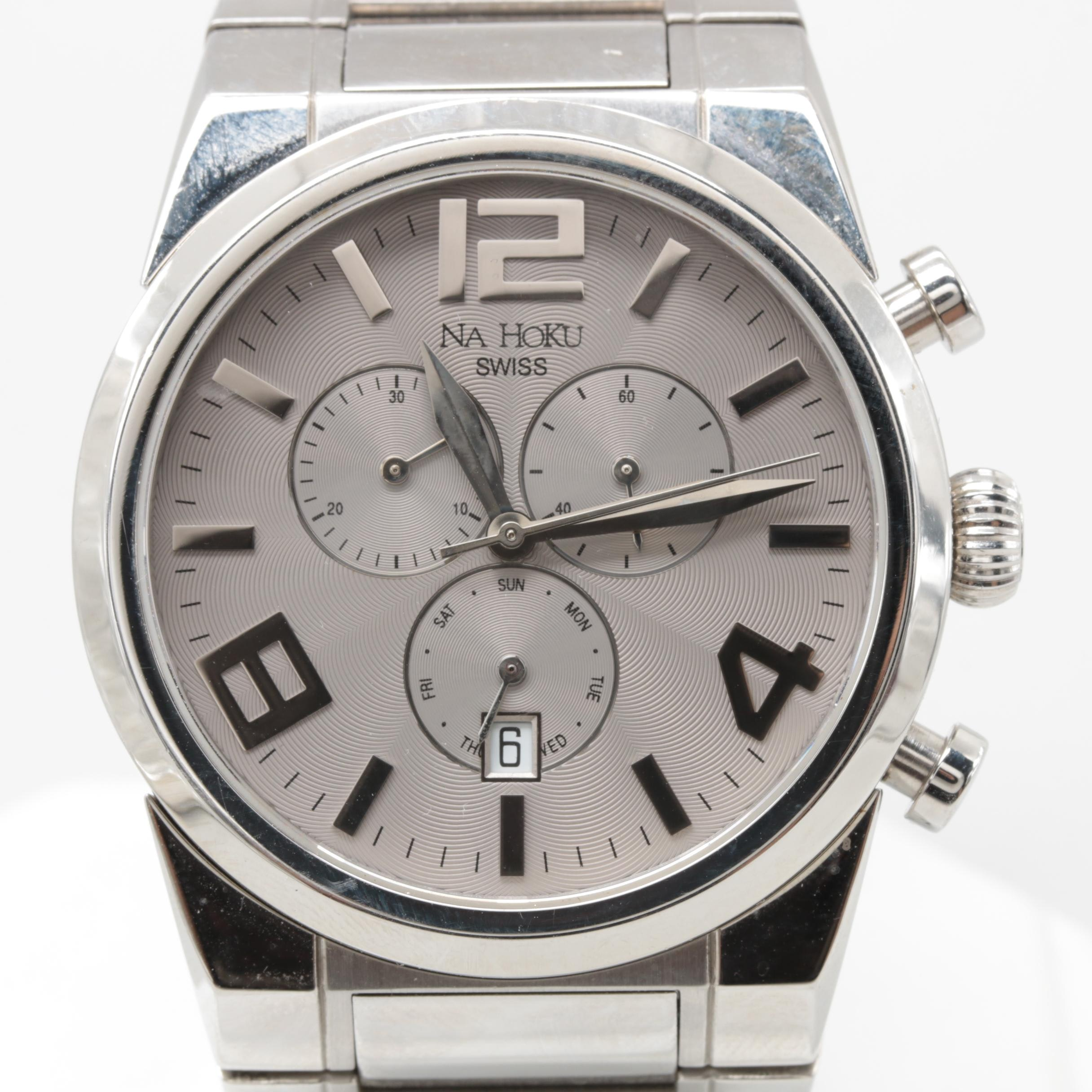 Na Hoku 9073M Stainless Steel Chronograph Wristwatch with Box
