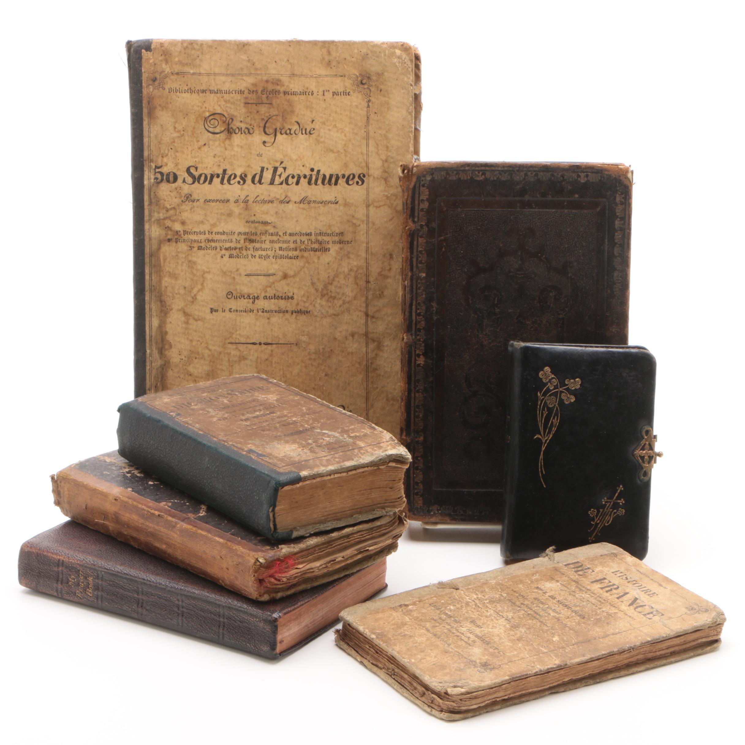 """Antique German and French Language Books Including """"Perlen Der Andacht"""""""
