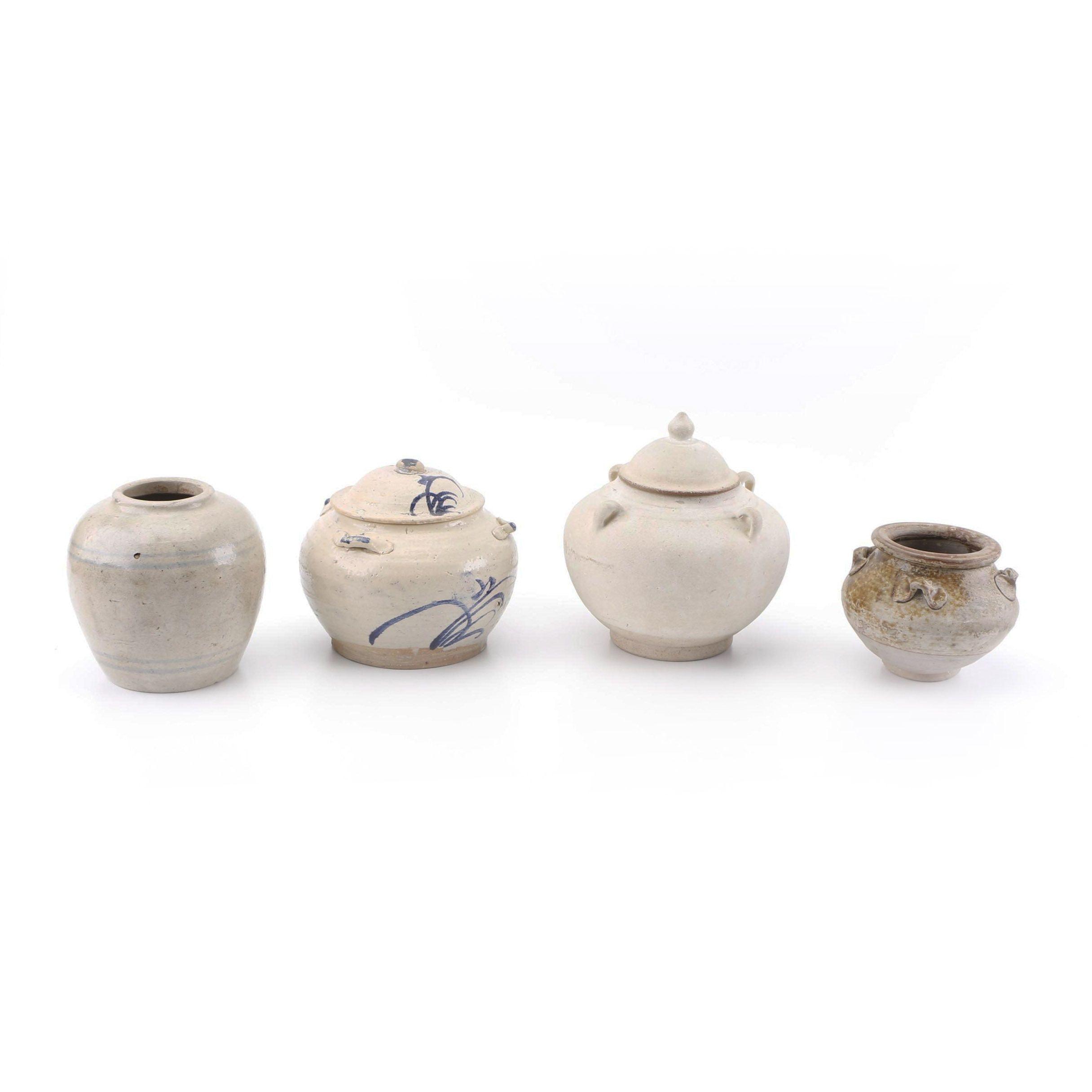 Hand-Thrown Stoneware Jars and Jardiniere