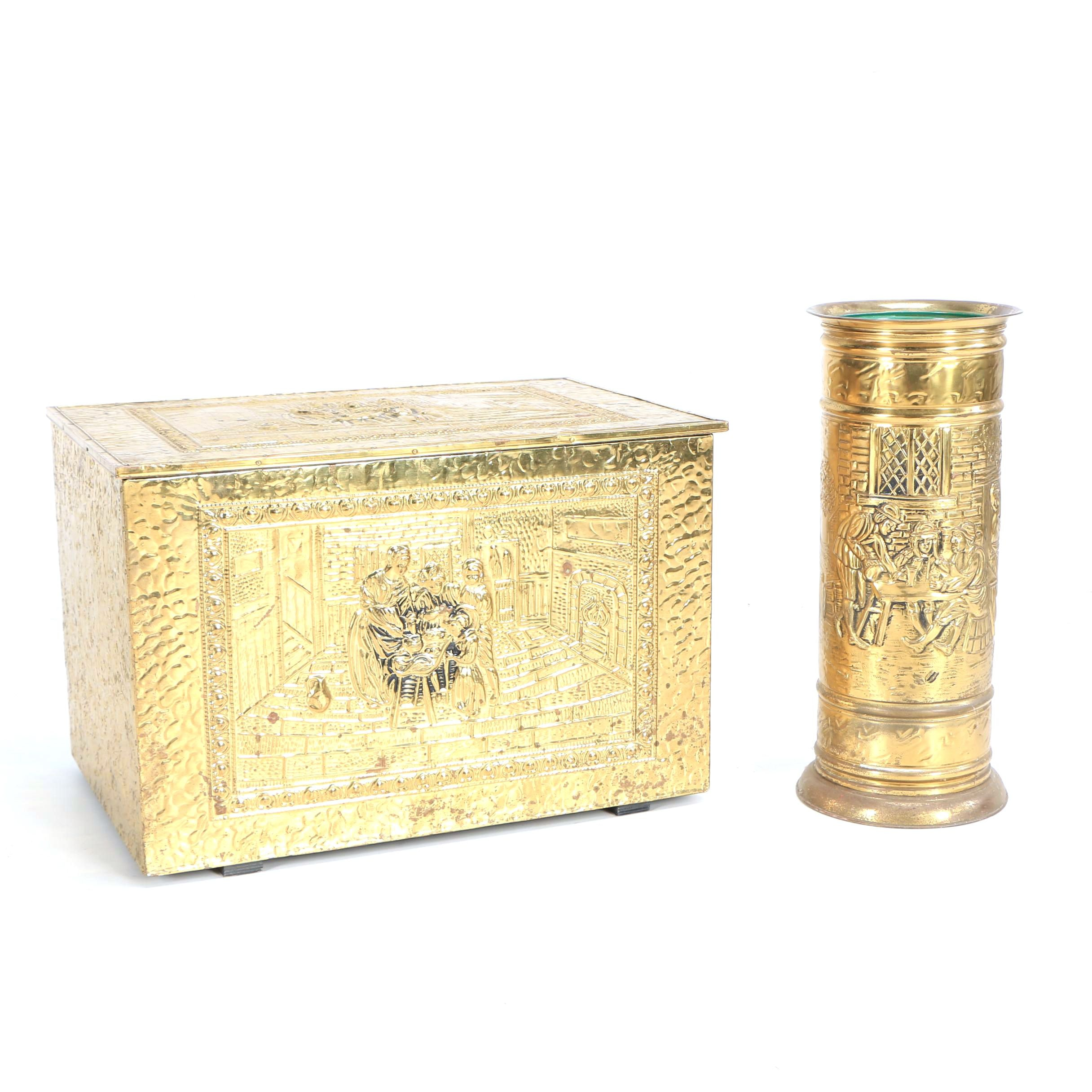 Vintage Umbrella Stand and Storage Chest with Repoussé Genre Scenes