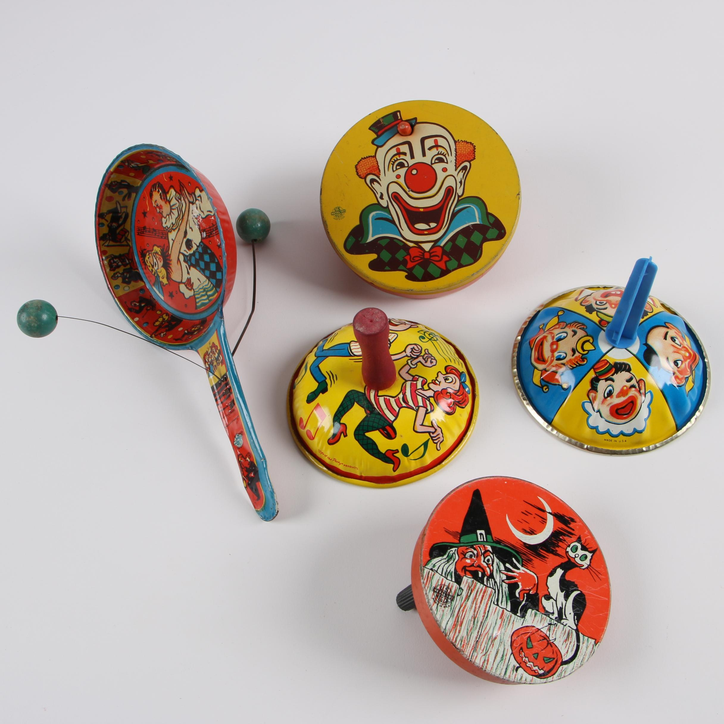Mid Century Tin Litho Noisemakers including Halloween and Dance Themes