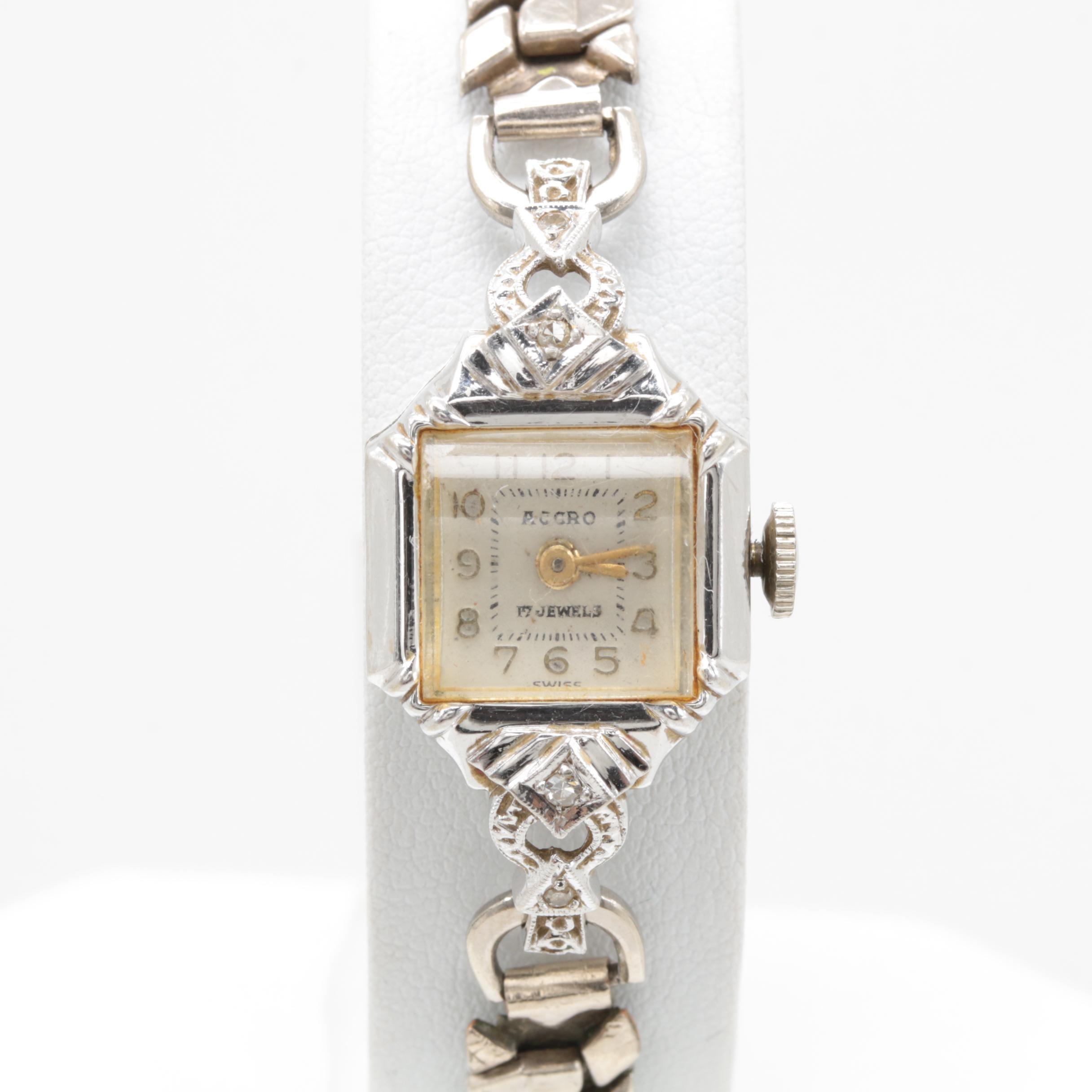 Accro 14K White Gold Diamond Wristwatch