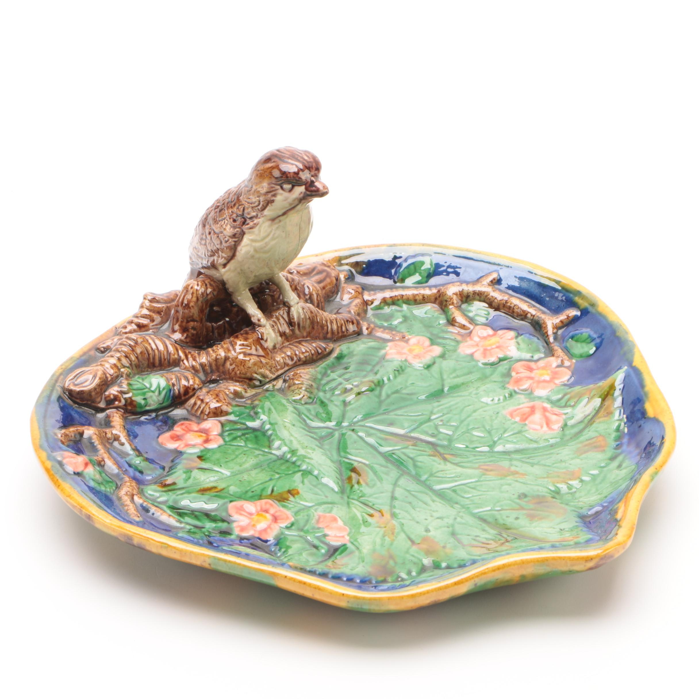 Majolica Bird and Leaf Pin Tray