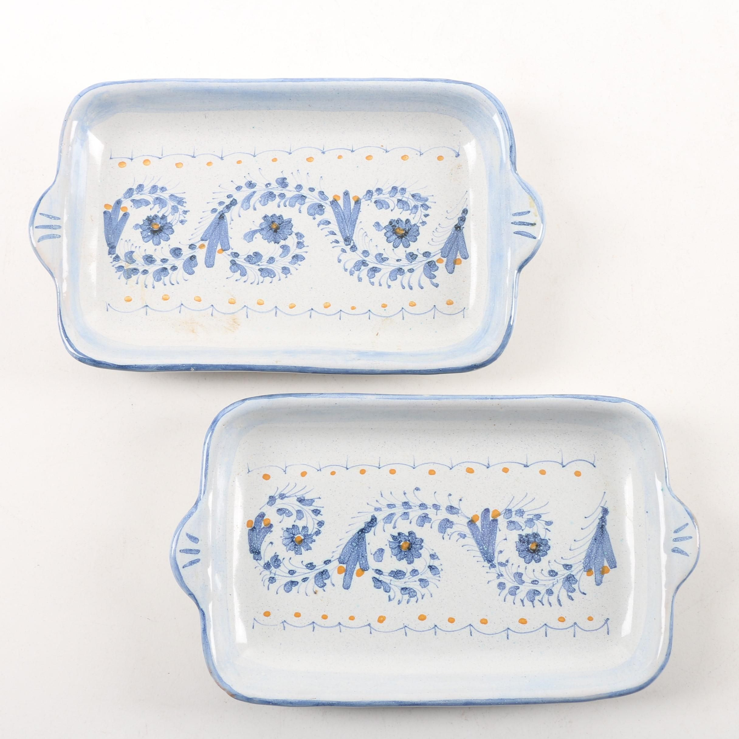 Italian Hand-Painted Pottery Butter Dishes