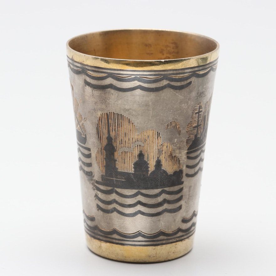 Post 1958 Russian 875 Enamel Kiddush Cup with Gold Wash Accents
