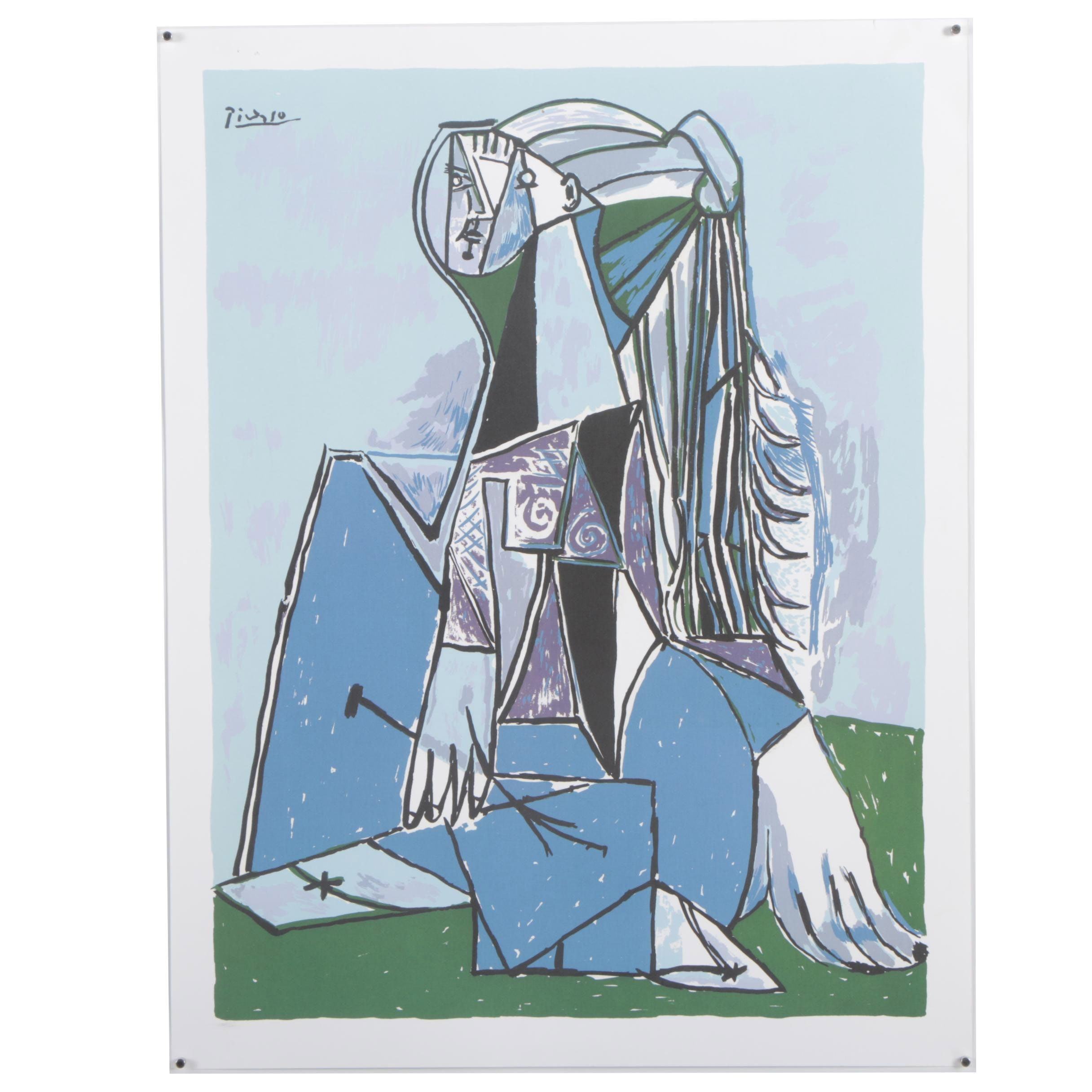 "Offset Lithograph After Pablo Picasso ""The Thinker"""