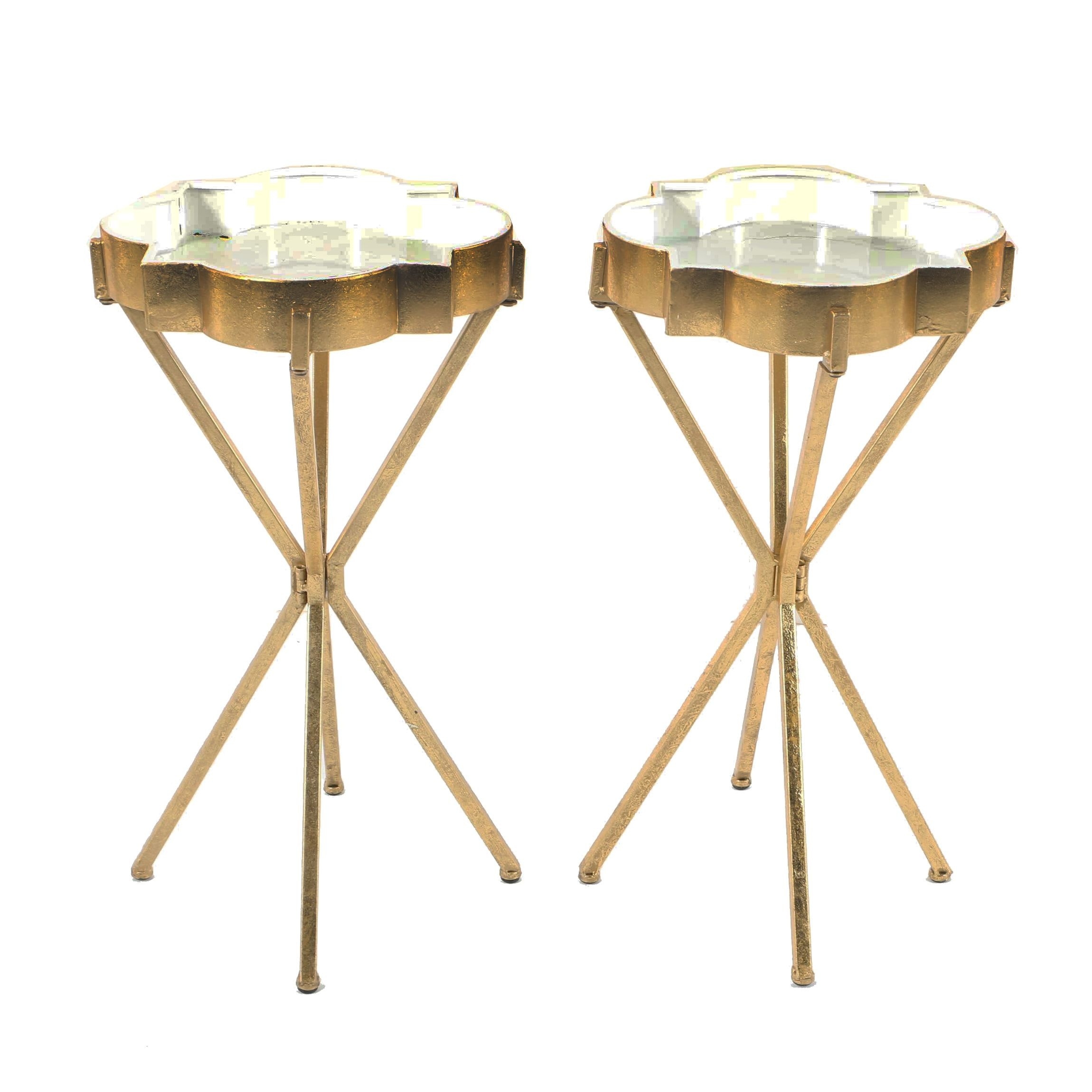 Gold Tone Painted Accent Tables
