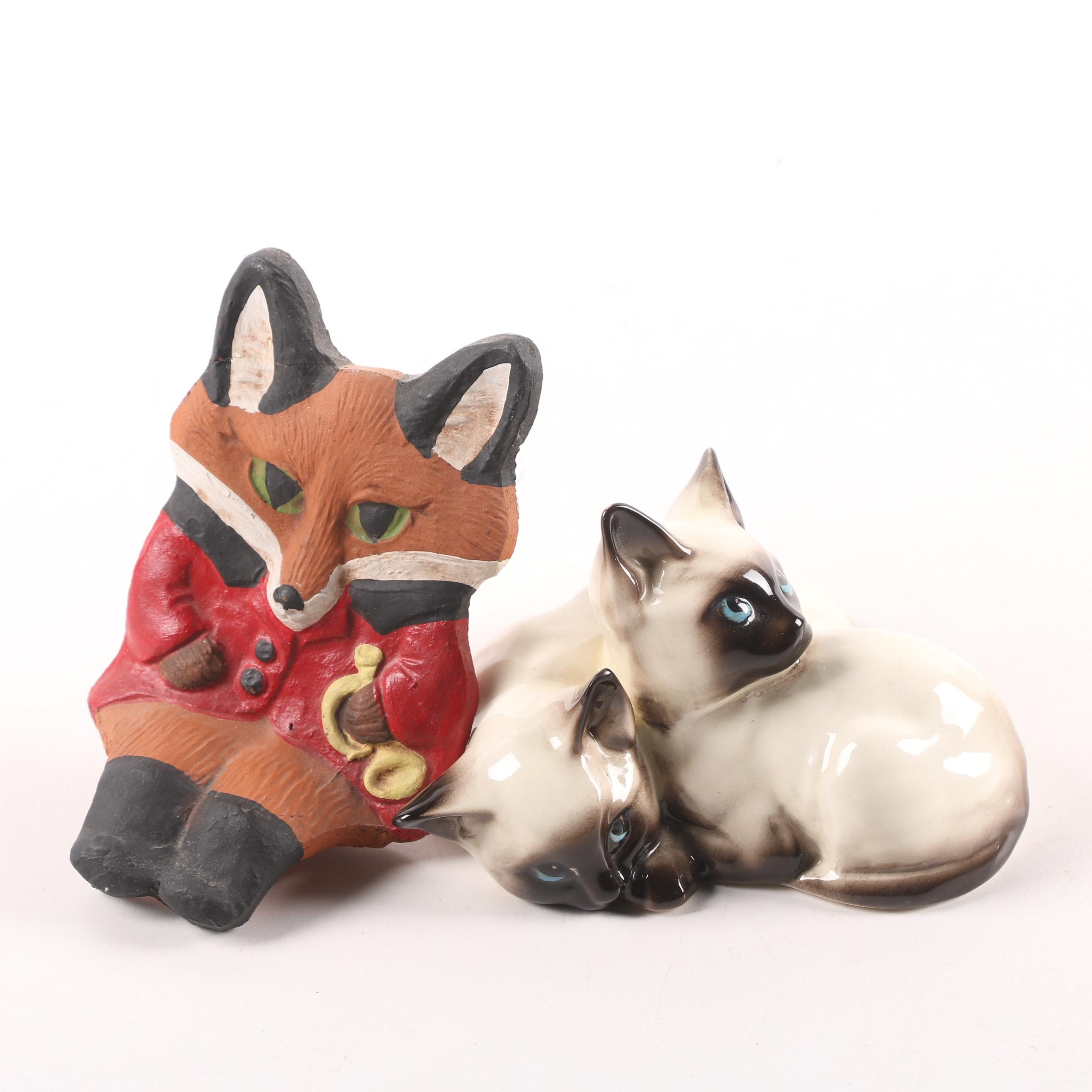 "Beswick ""Siamese Kittens"" Figurine and Hunting Themed Fox Shelf Sitter"