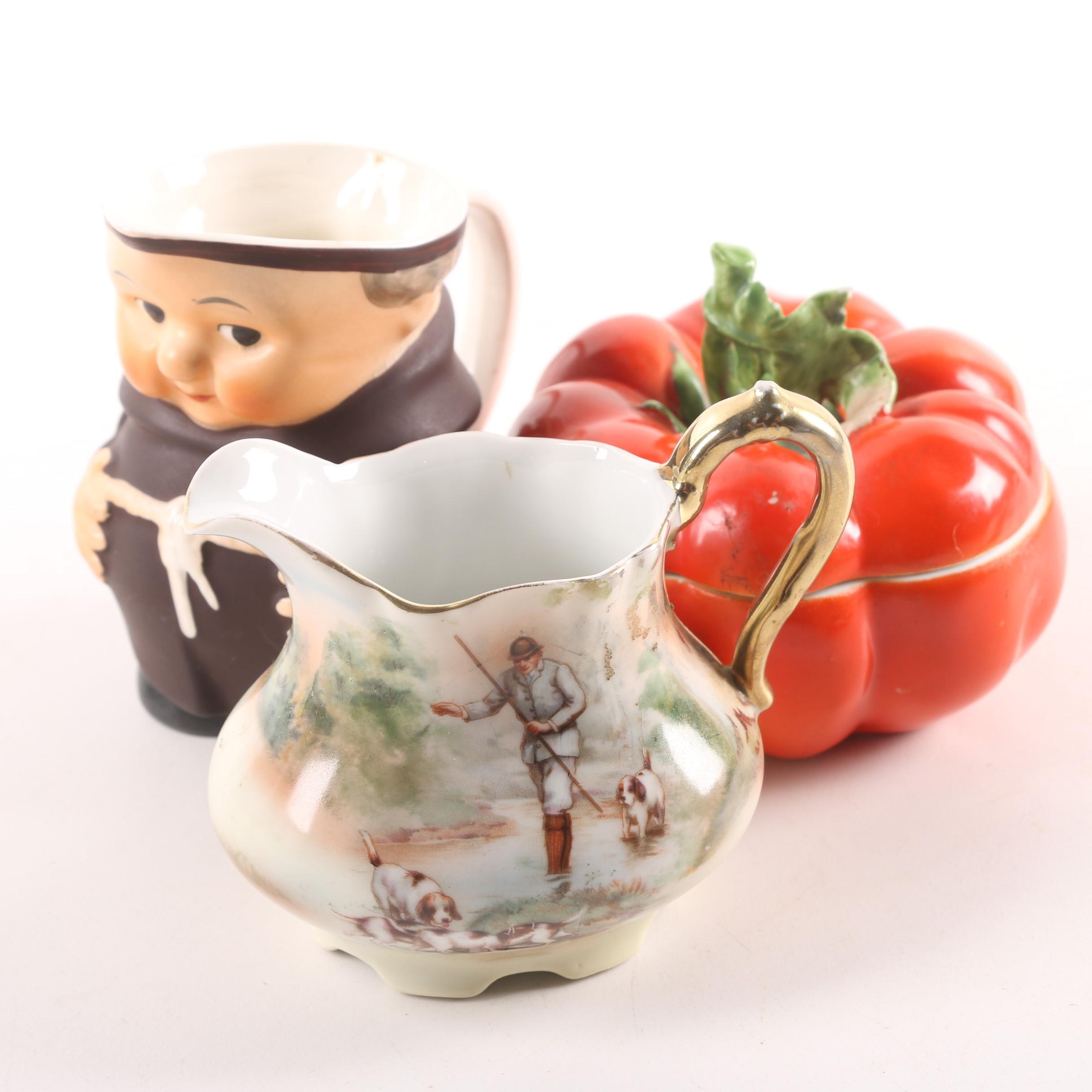"Mid-Century Serveware Including Royal Bayreuth ""Tomato"" and Goebel ""Friar Tuck"""