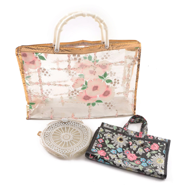 Vintage Floral Motif Plastic Totes and Beaded Plastic Handbag