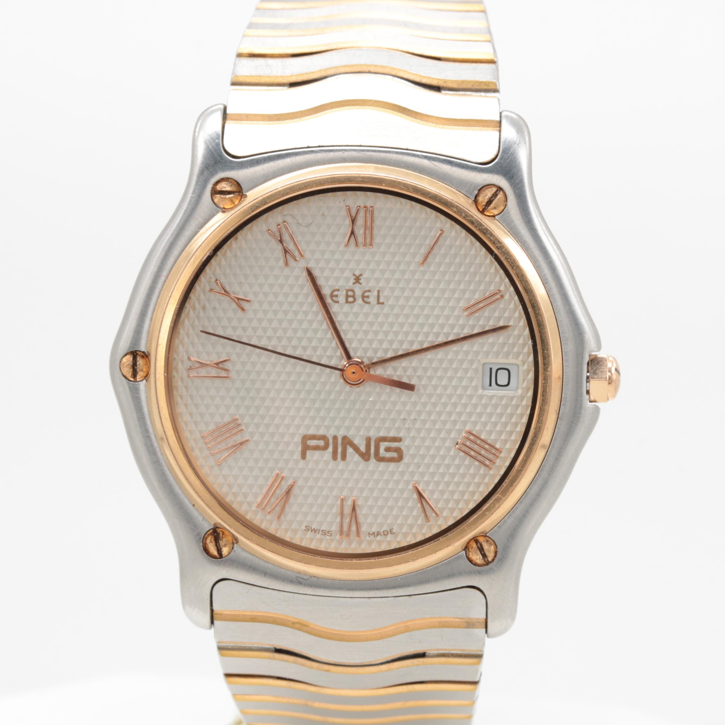 """Ebel Stainless Steel """"Ping"""" Award Wristwatch with 18K Rose Gold Bezel"""