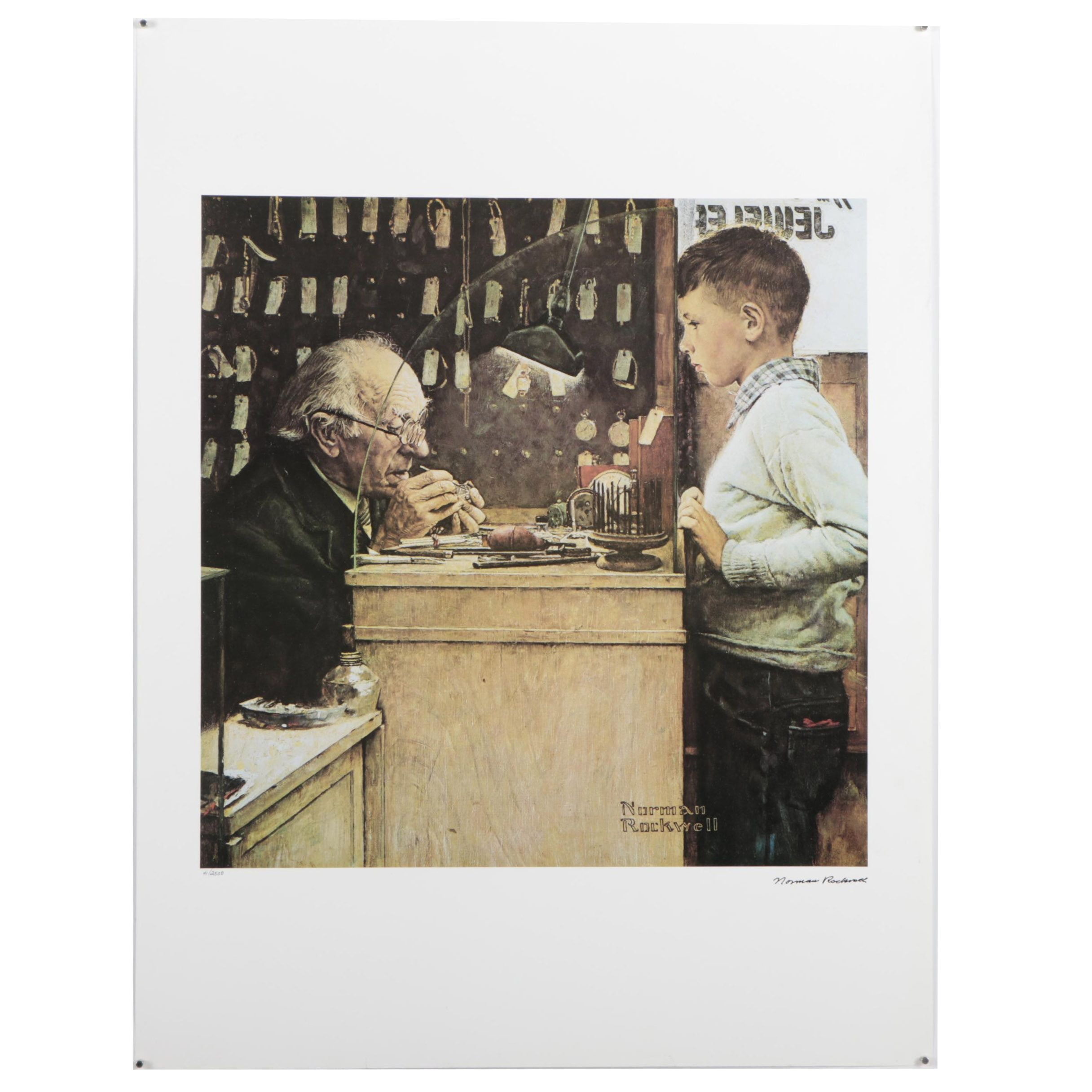 """Vintage Offset Lithograph After Norman Rockwell """"The Watchmaker"""""""