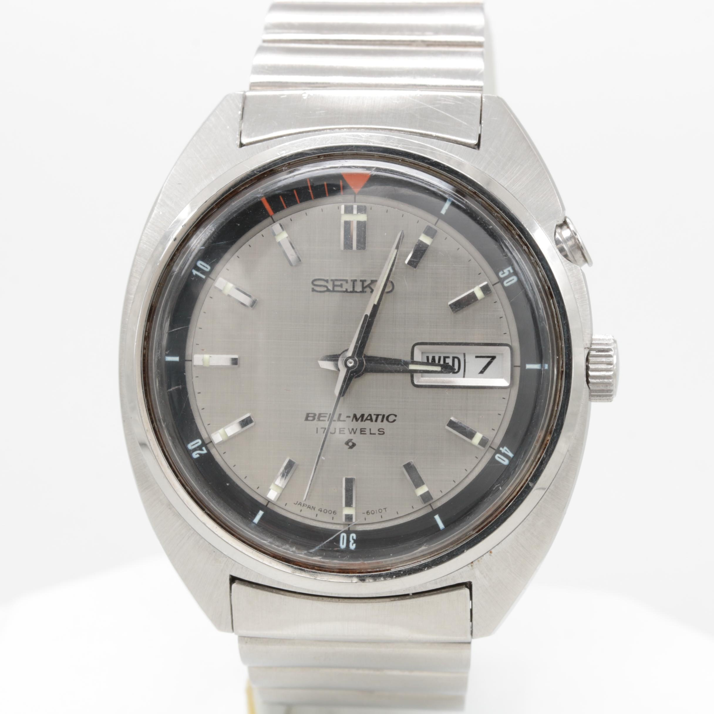 """Vintage Seiko """"Bell-Matic"""" Stainless Steel Automatic Wristwatch"""