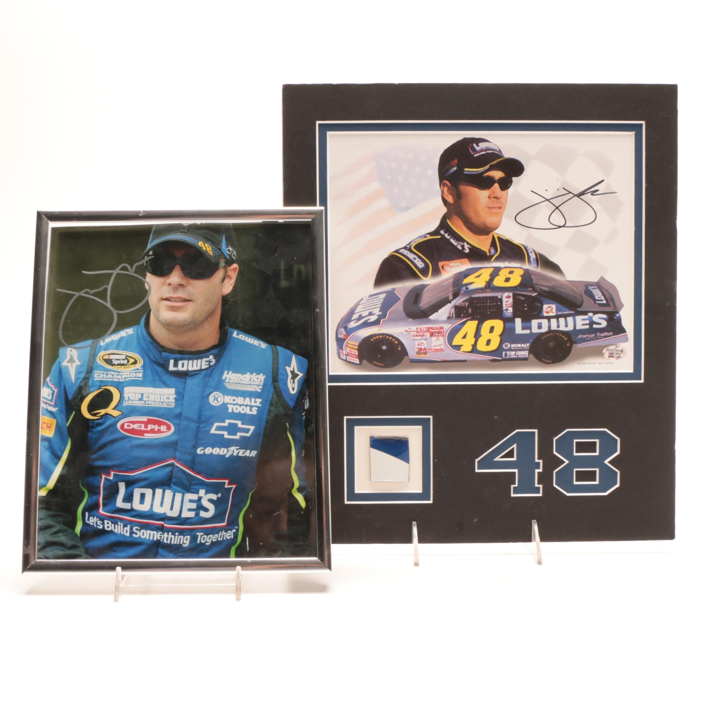 Two Jimmy Johnson Star NASCAR Driver Signed Auto Racing Displays