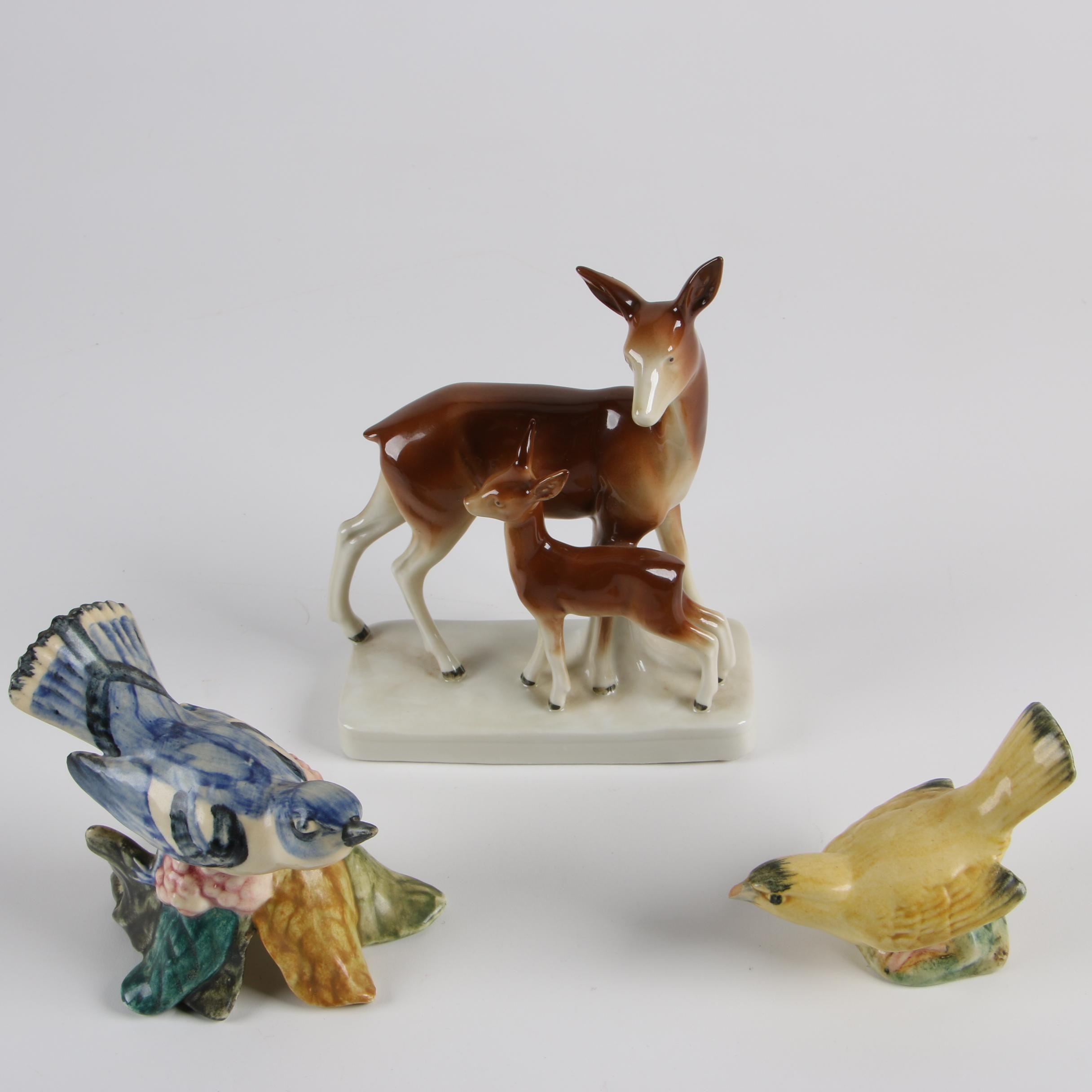 Vintage Stangl Pottery Birds and Lippelsdorf Porcelain Deer Figurines
