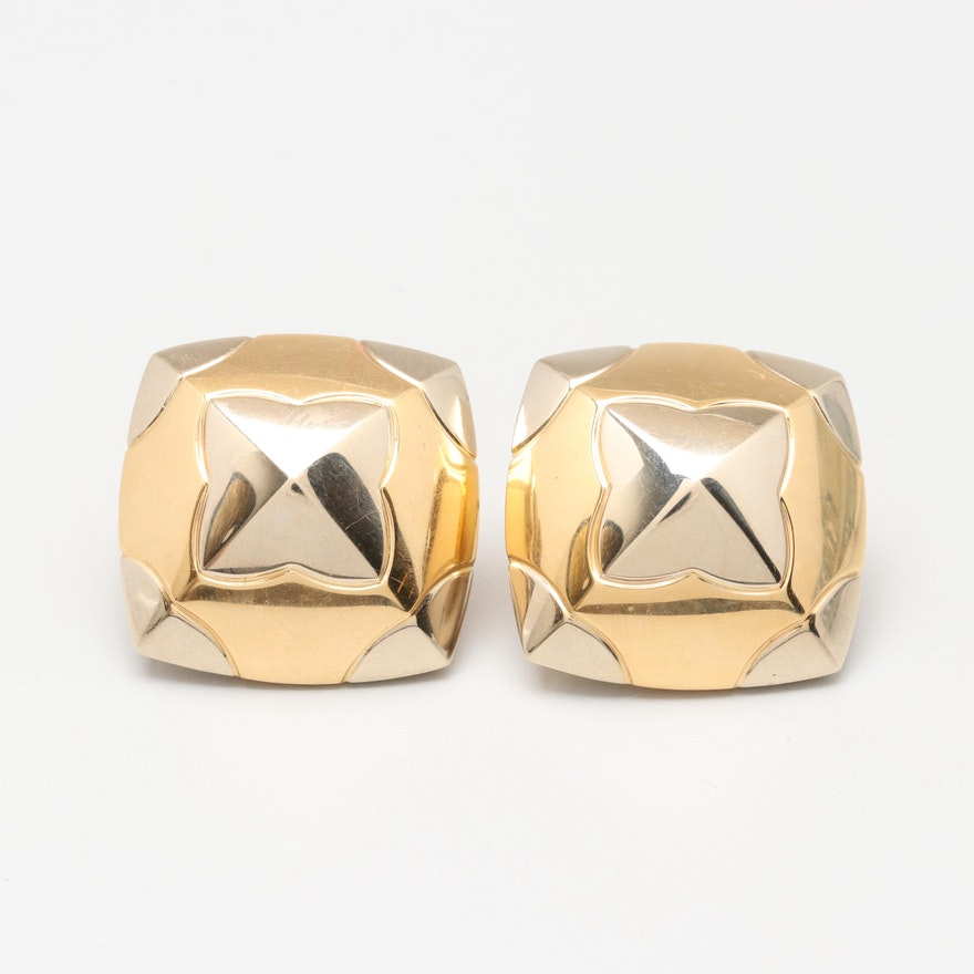 4ebede8be 18K Two Tone Gold Square Pyramid Post Earrings : EBTH