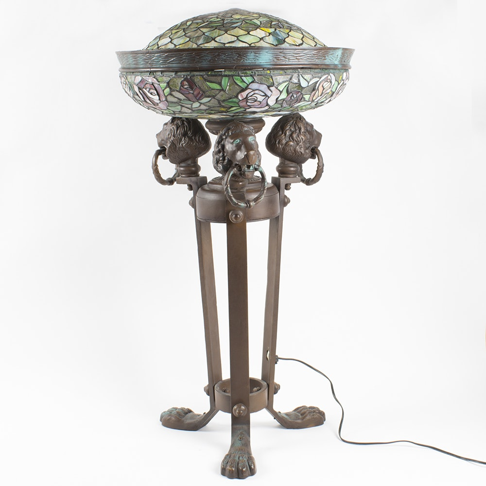 Empire Athénienne Style Floor Lamp with Stained Glass Shades