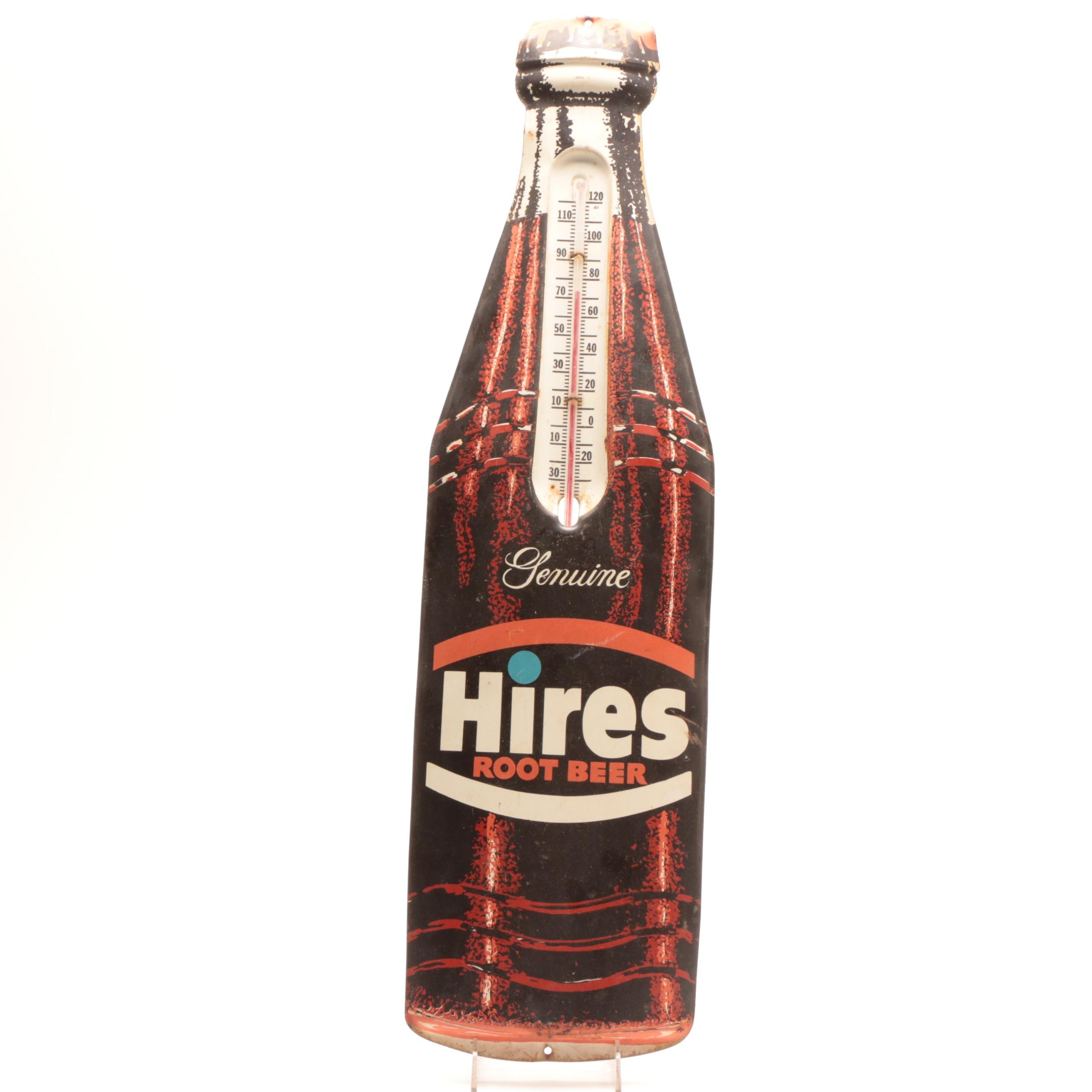 1950s Genuine Hires Root Beer Metal Advertising Thermometer Sign