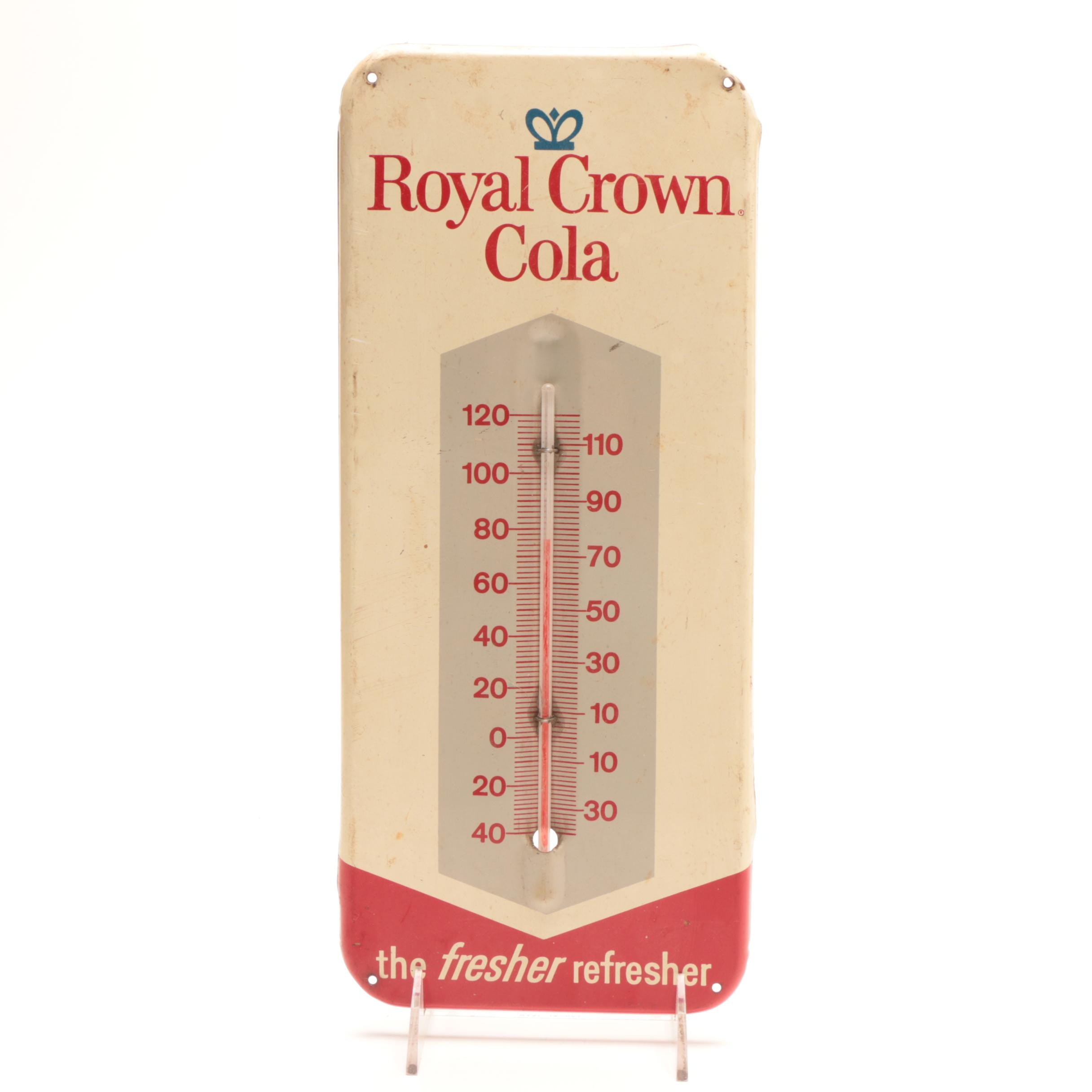 1950s-1960s Royal Crown Cola Metal Thermometer Advertising Sign