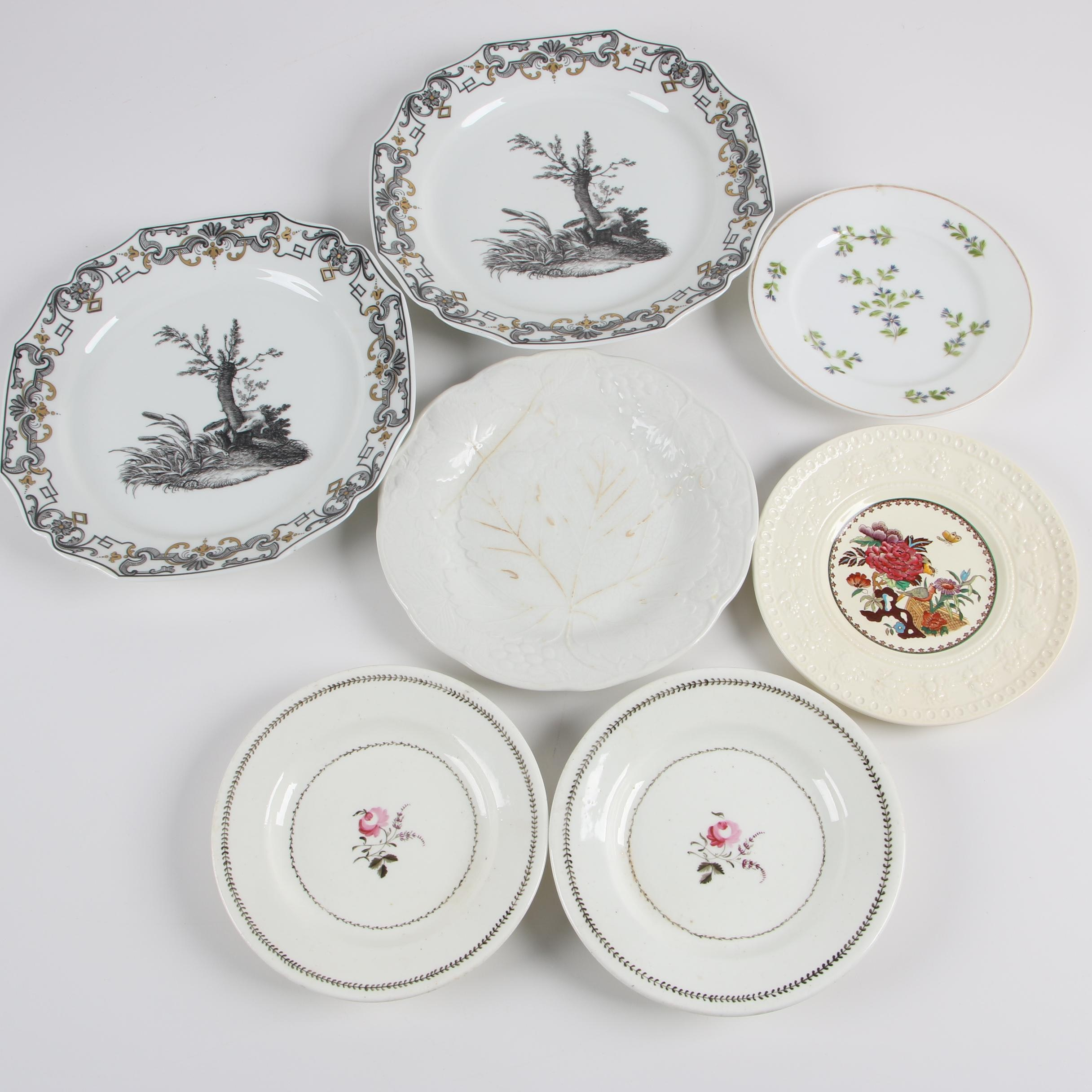 19th and 20th Century Porcelain Plates with Wedgwood, Burleigh, and Mottahedeh