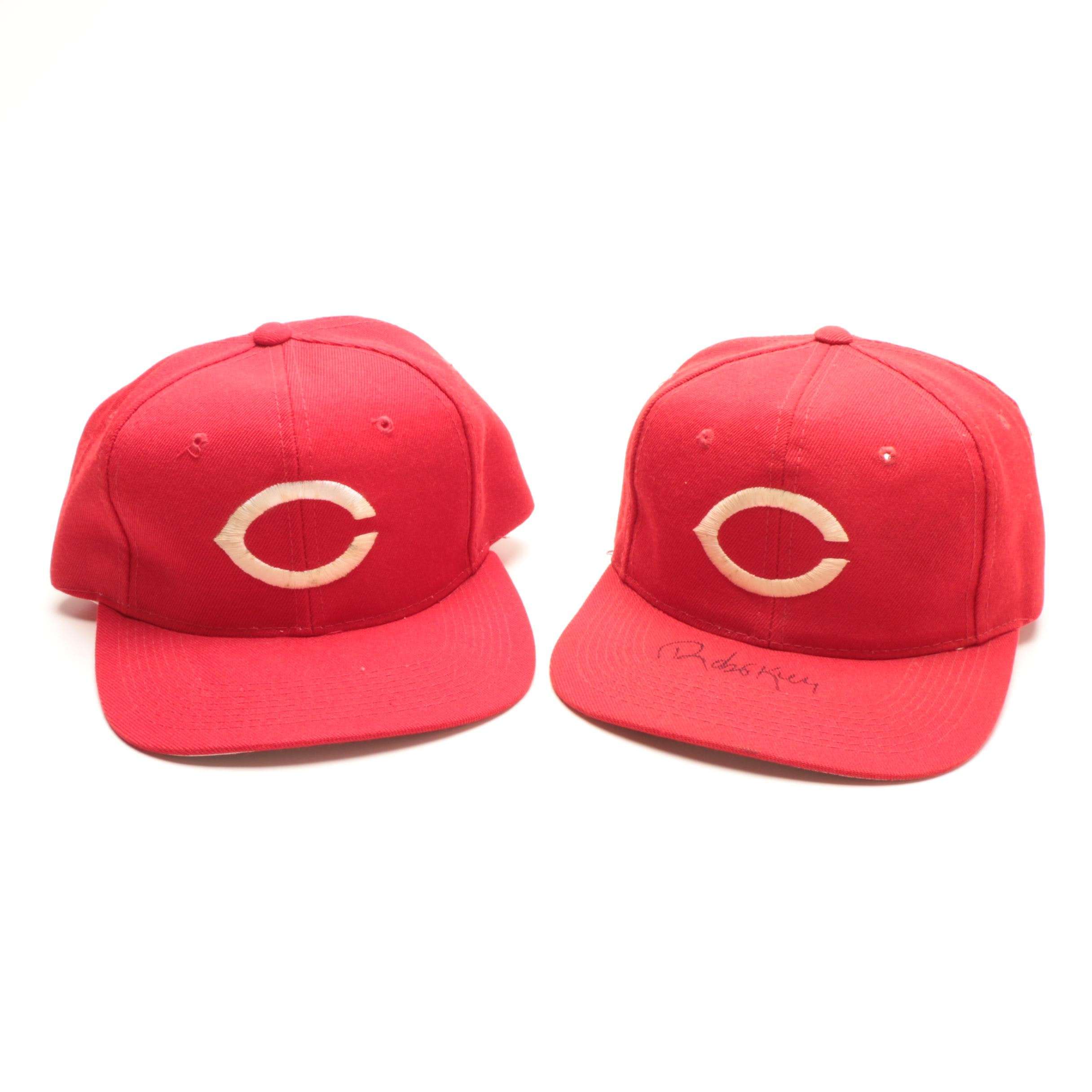 Two Signed 1990s Era Reds Spring Training Hats