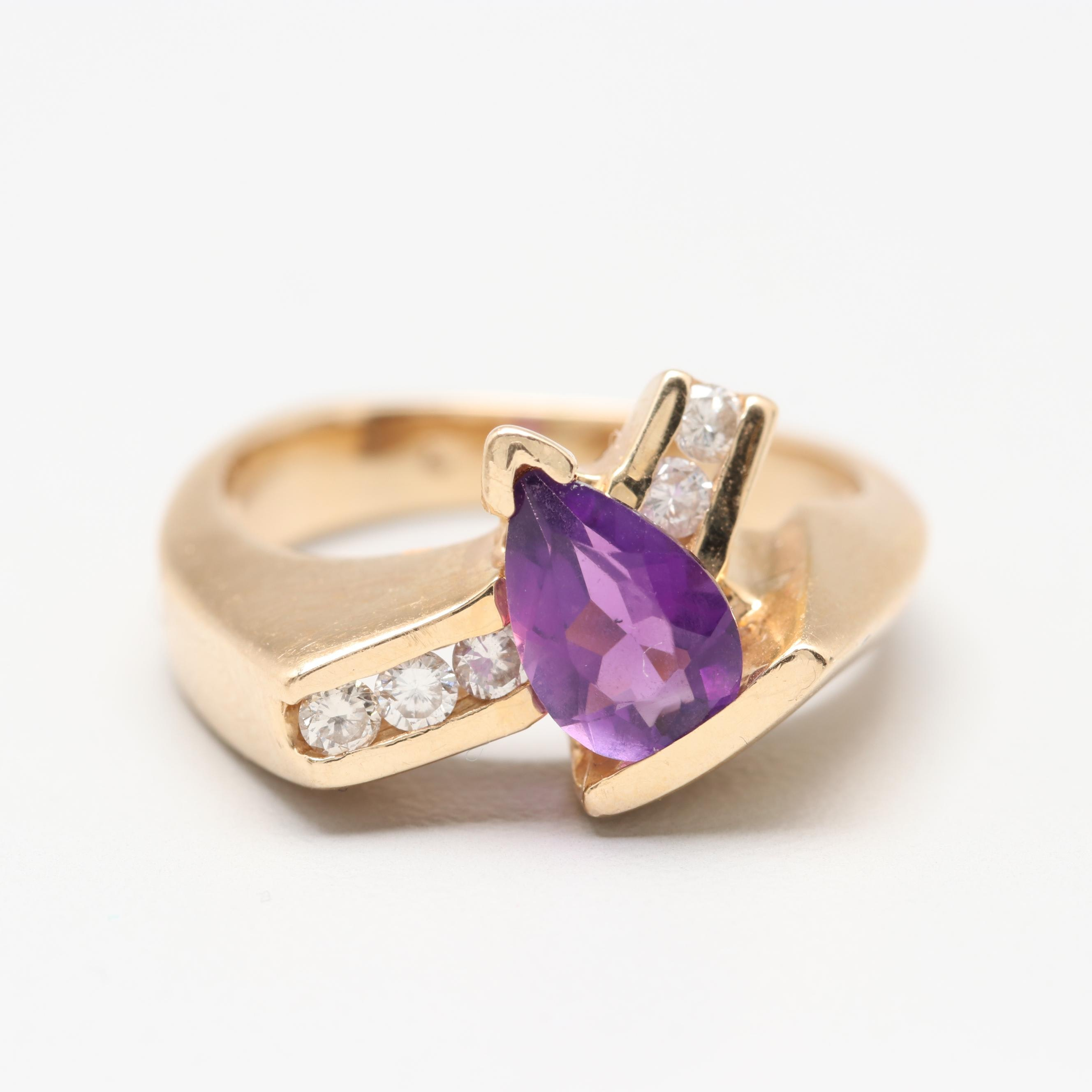 14K Yellow Gold Amethyst and Diamond Abstract Ring