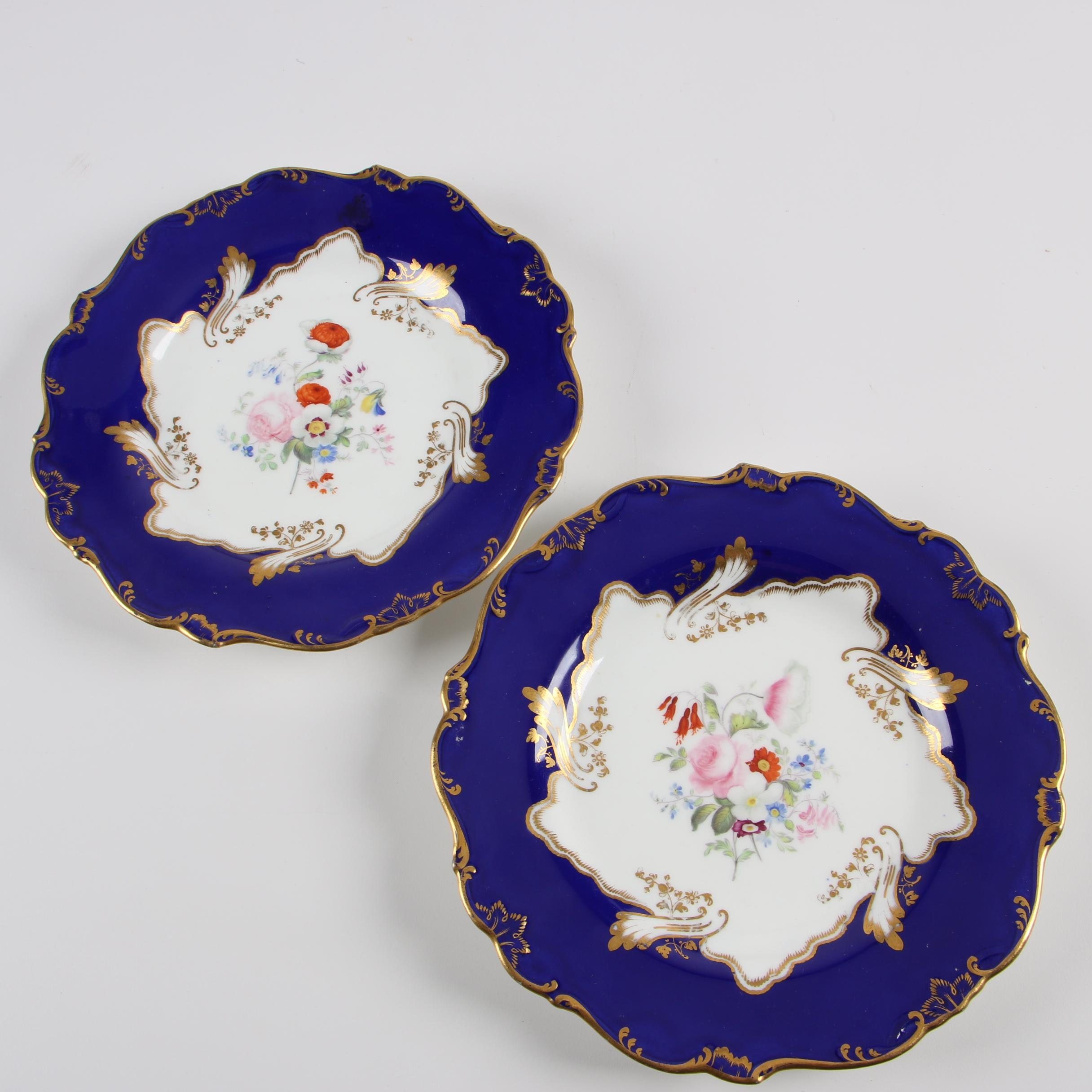 Antique English Porcelain Blue Ground Gilded Plates c. 1835-50