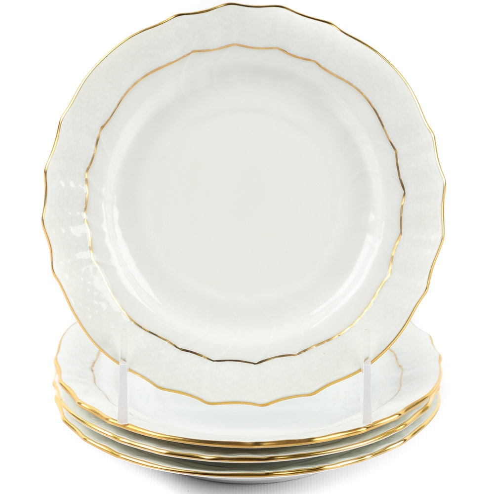 "Herend ""Golden Edge"" Porcelain Bread and Butter Plates"