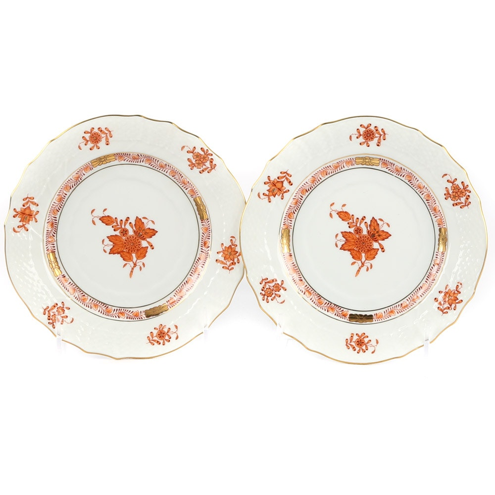 "Herend ""Chinese Bouquet"" Rust Porcelain Bread and Butter Plates"