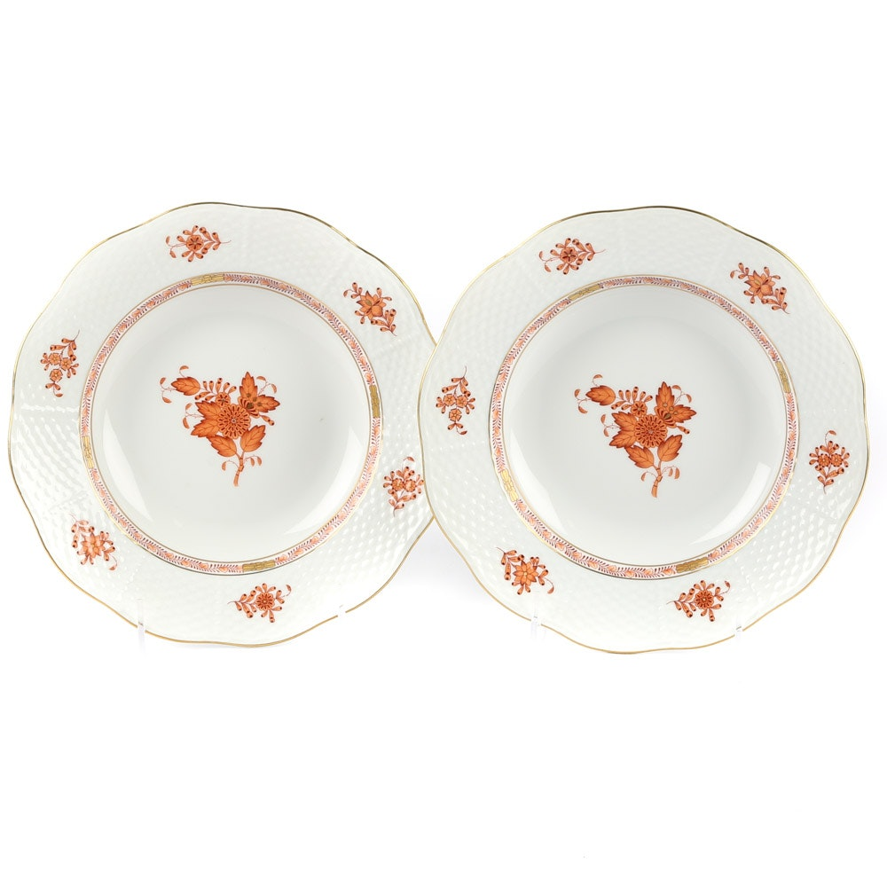 "Herend ""Chinese Bouquet"" Rust Porcelain Rim Soup Bowls"