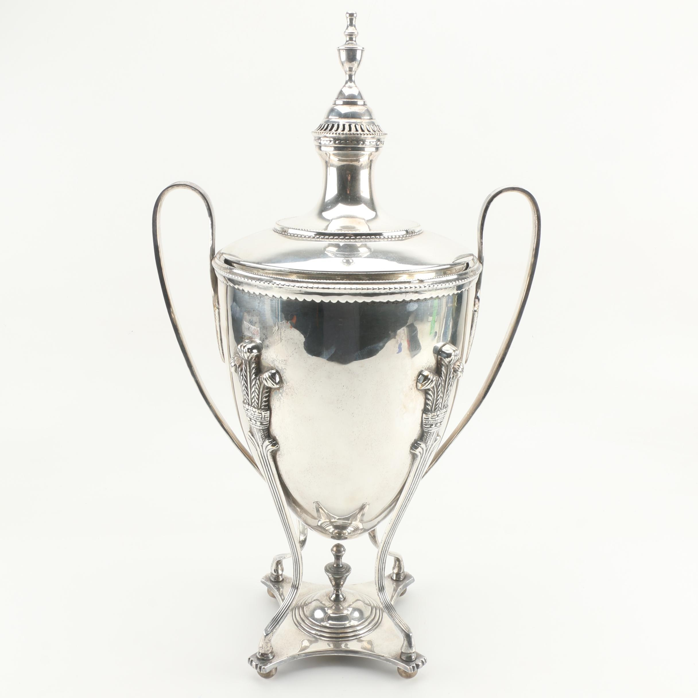 Regency Style Silver Plate Covered Urn With Prince of Wales Feathers