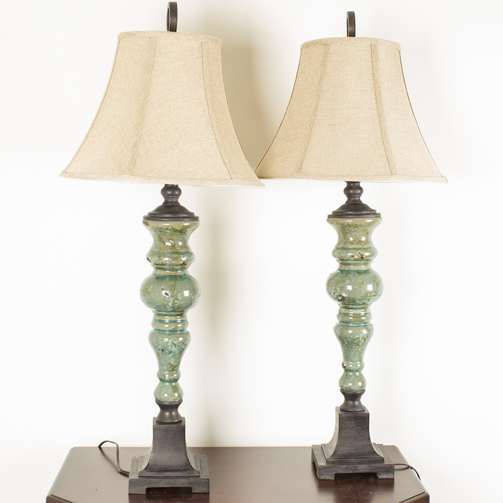 Jade Colored Candlestick Table Lamp Pair