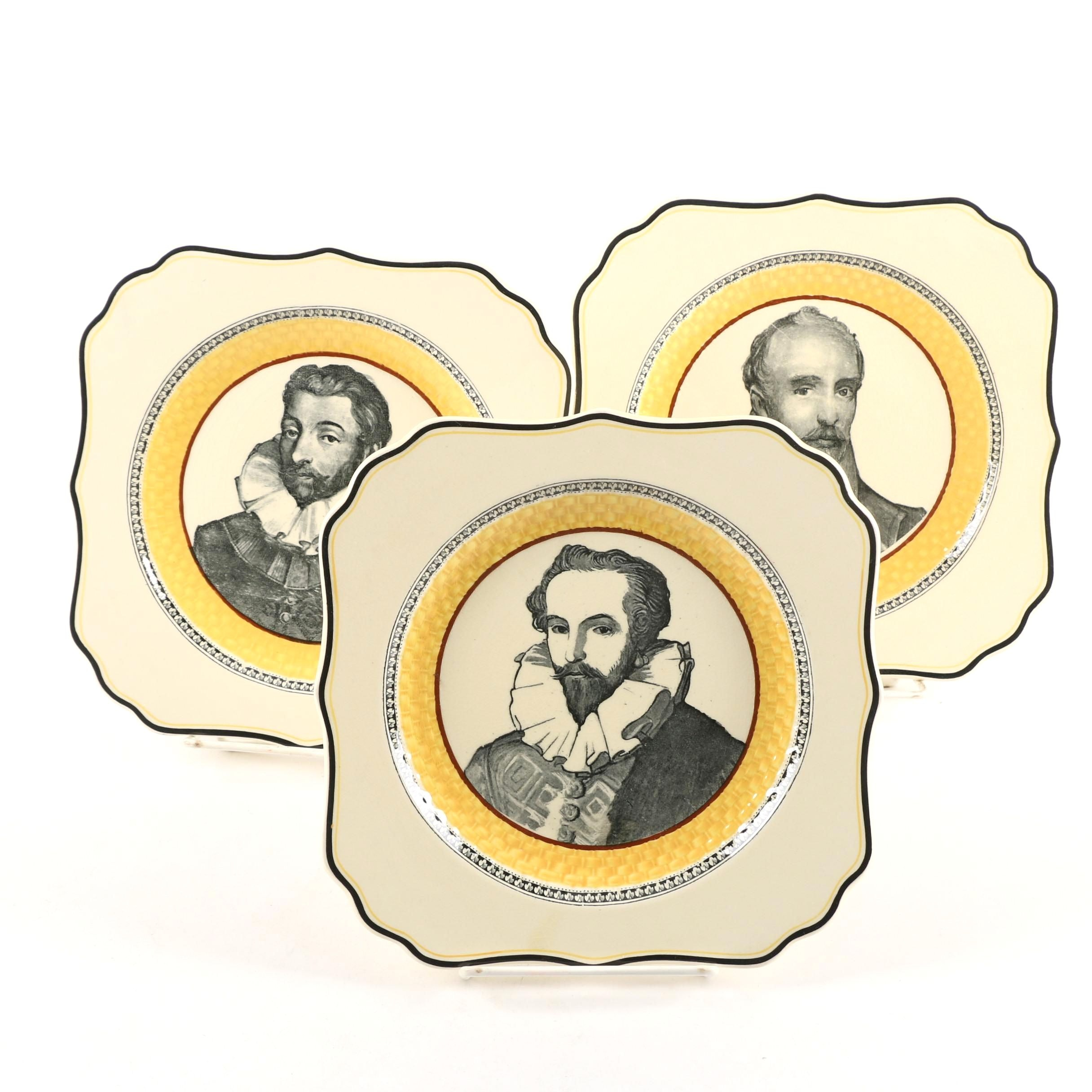 """1920-30s Royal Doulton Plates featuring """"Drake,"""" """"Forbisher,"""" and """"Raleigh"""""""