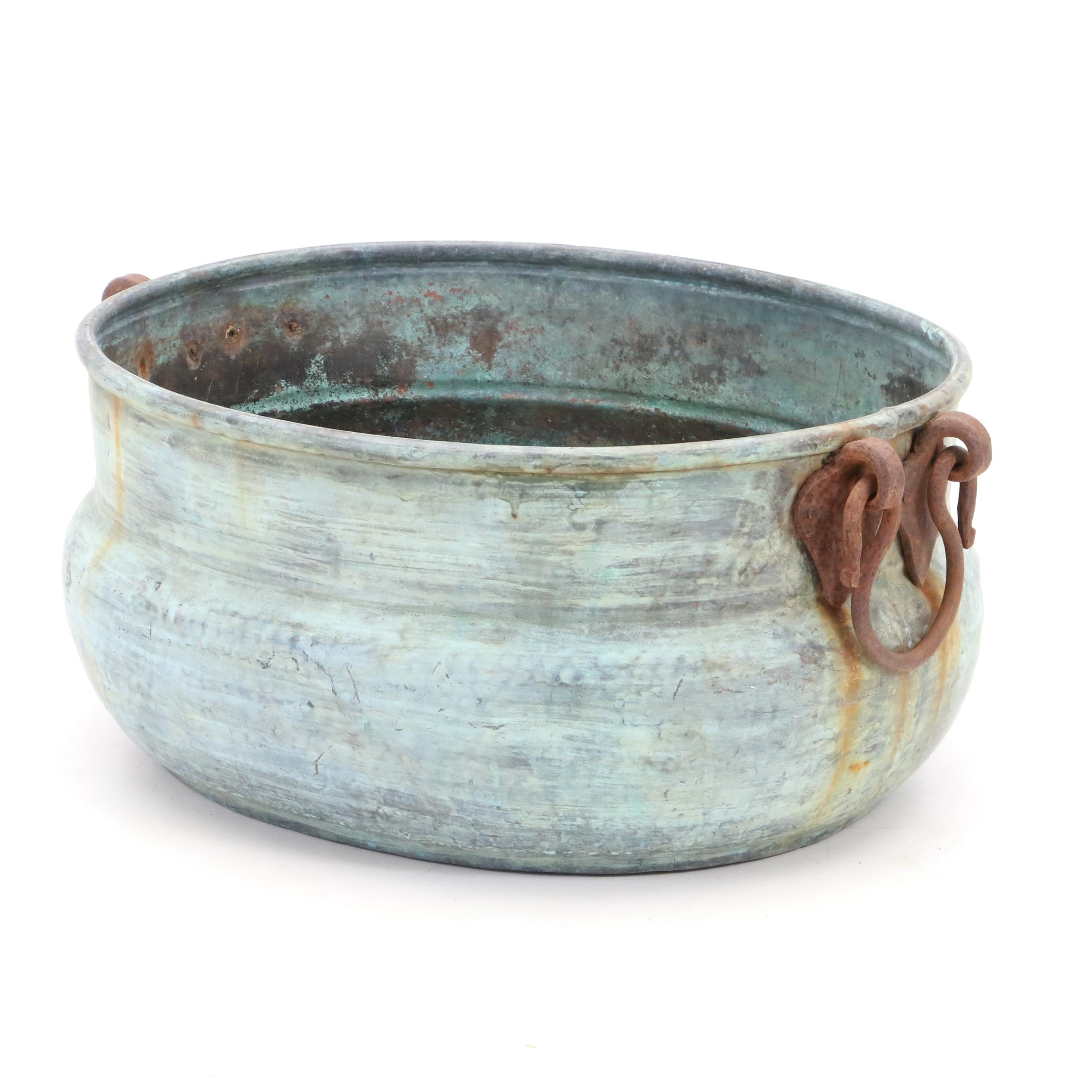 Vintage Copper Pot with Forged Double Iron Ring Handles