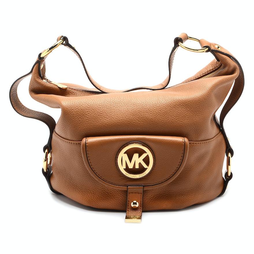 Michael Kors Fulton Tan Leather Shoulder Bag