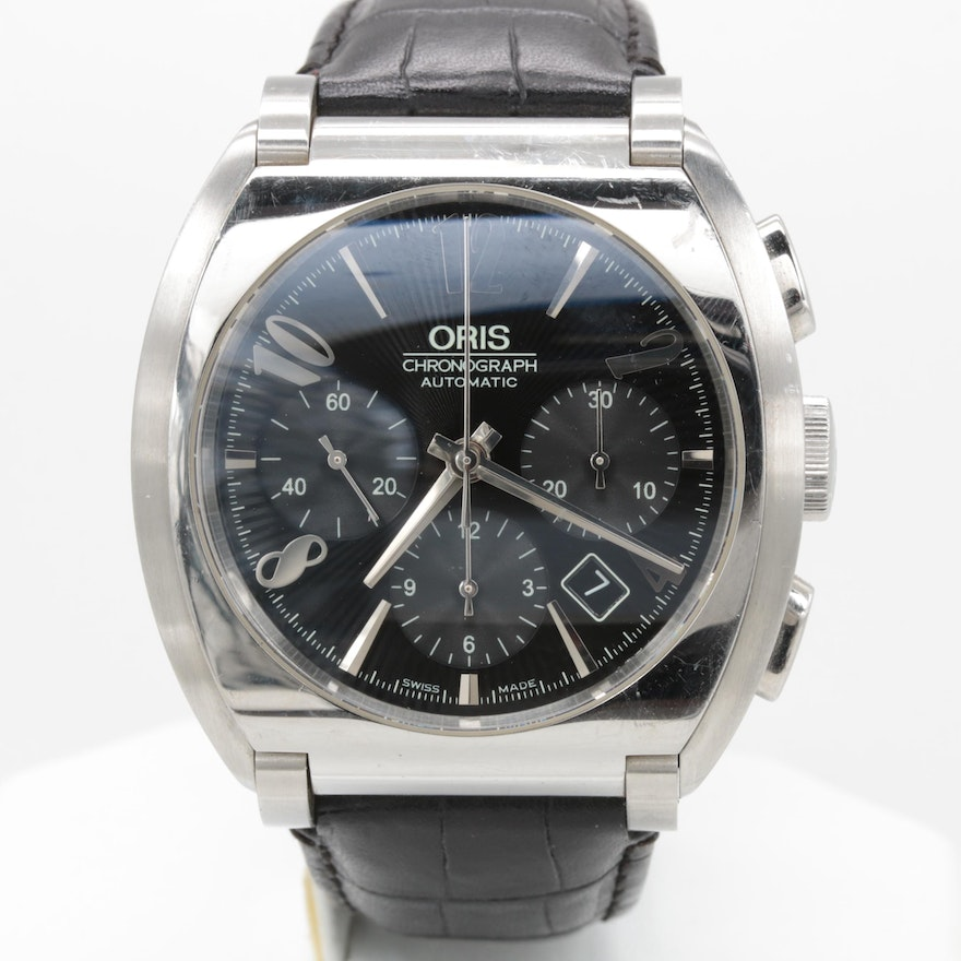 oris frank sinatra stainless steel black dial wristwatch with