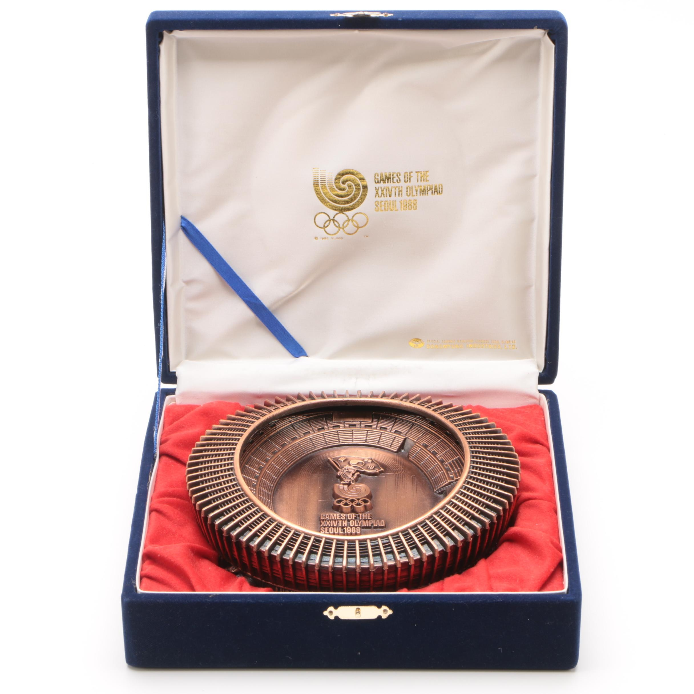 1988 Seoul XXIVth Olympics Bronze Tone Stadium Miniature