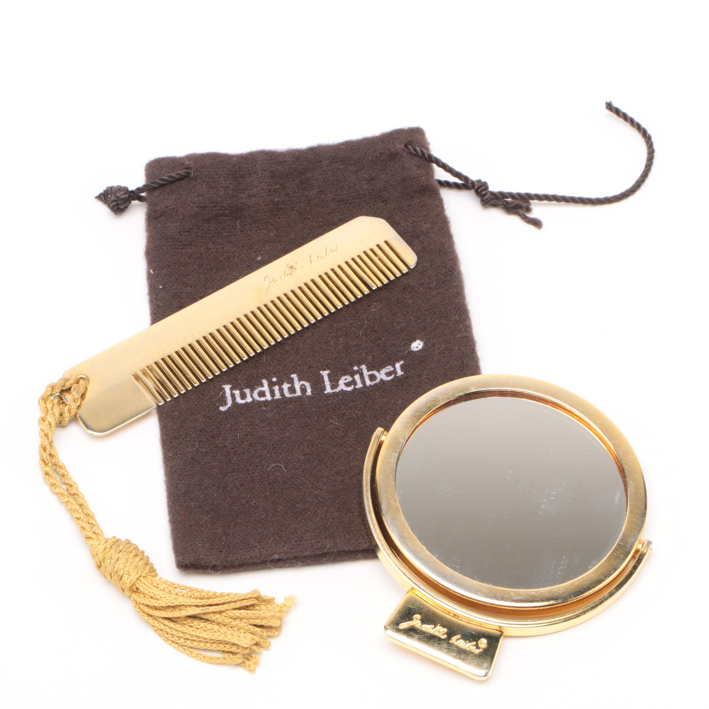 Judith Leiber Gold Tone Travel Mirror and Comb Set