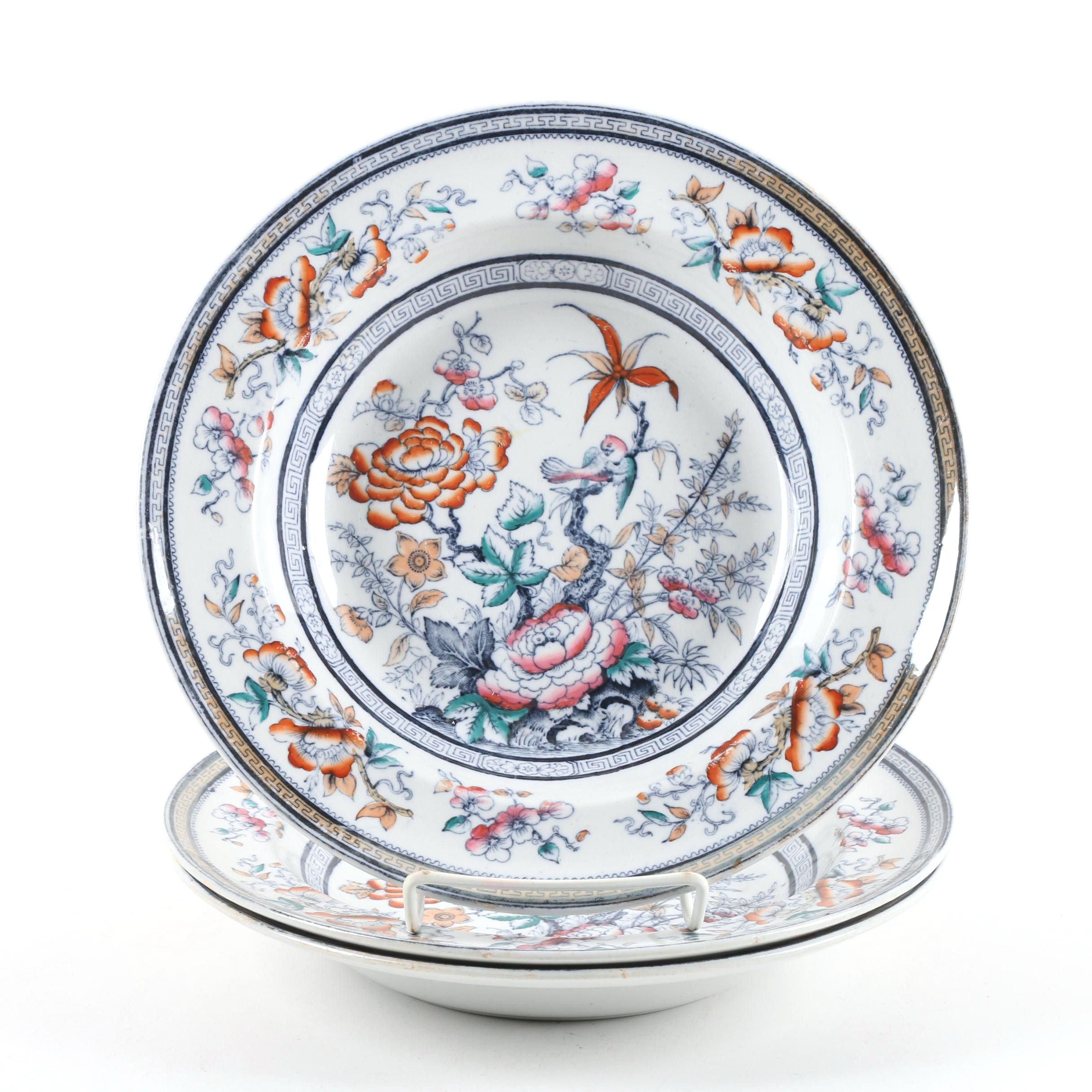 """Antique T. Till & Son """"Shanghae"""" Earthenware Soup Plates c. 1850-61"""