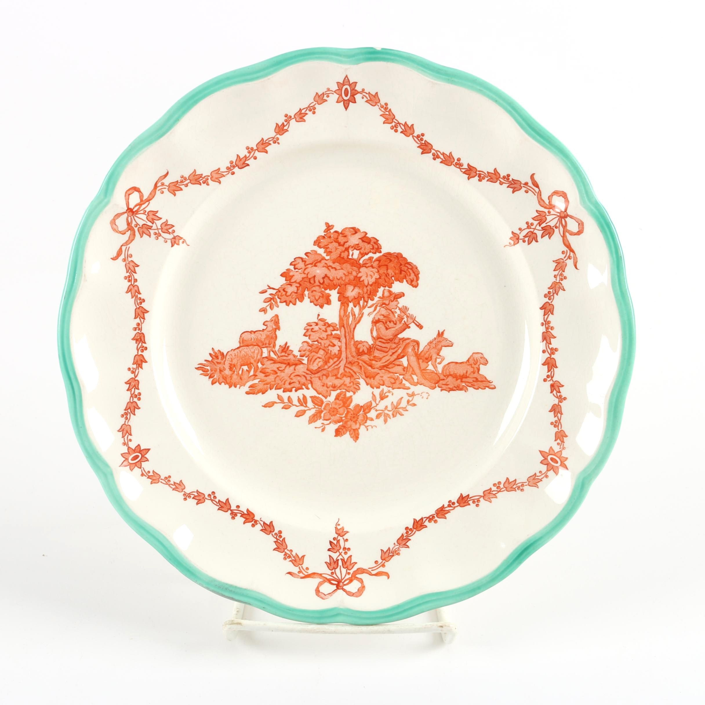 "Late 19th to Early 20th C. Copeland ""Spode's Peter Pan"" Creamware Style Plate"