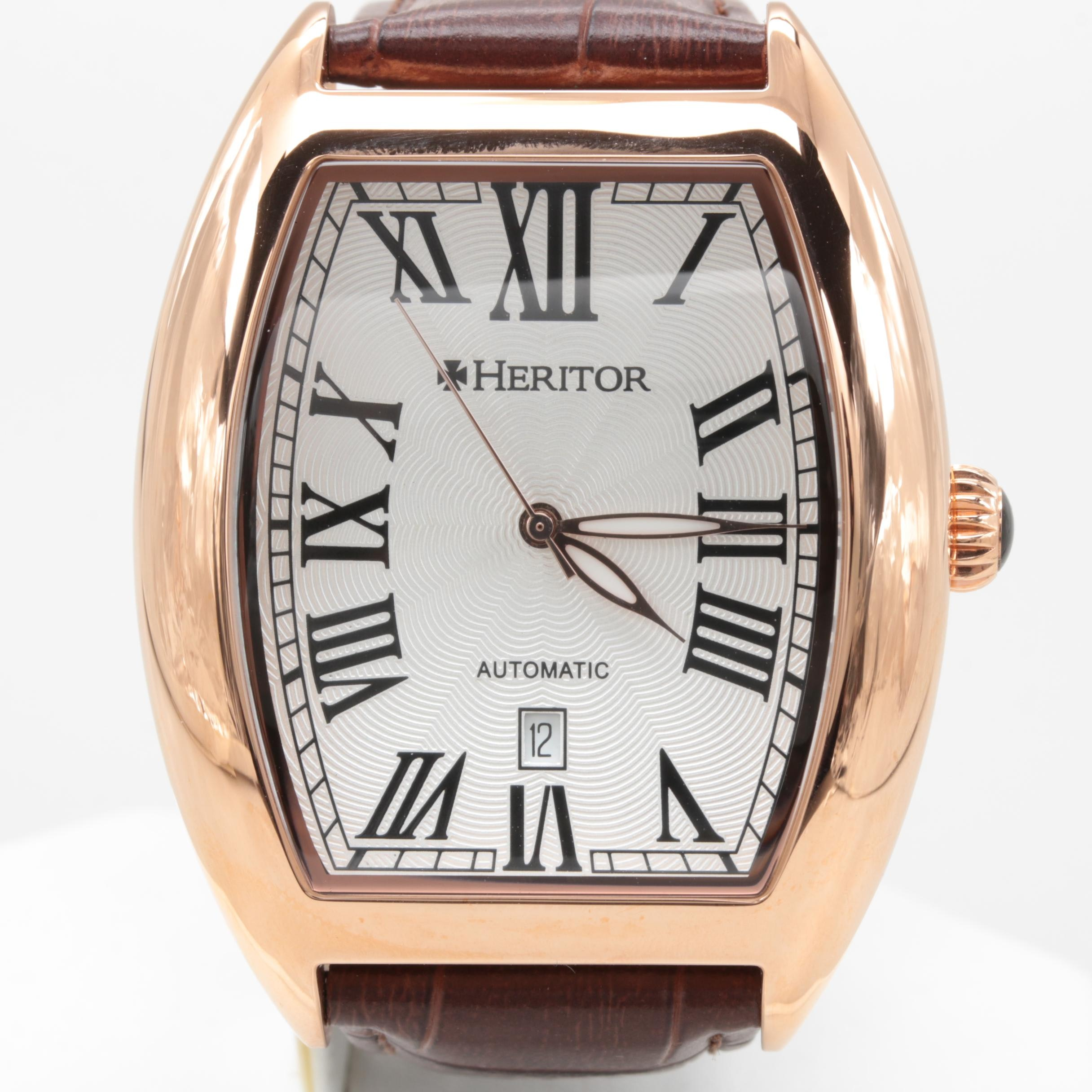Heritor Rose Tone Stainless Steel Wristwatch with Brown Leather Strap