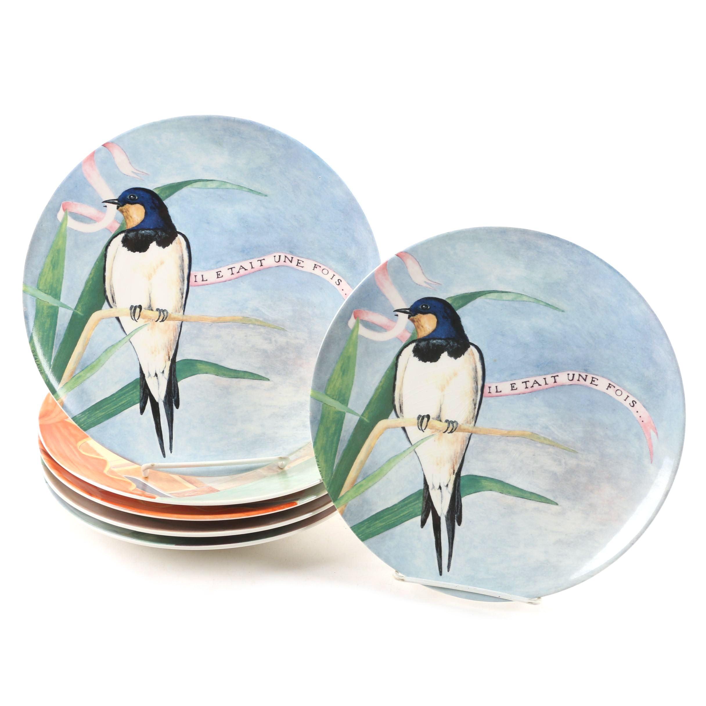 """Gien French """"Il Etait Une Fois"""" Earthenware Salad Plates"""