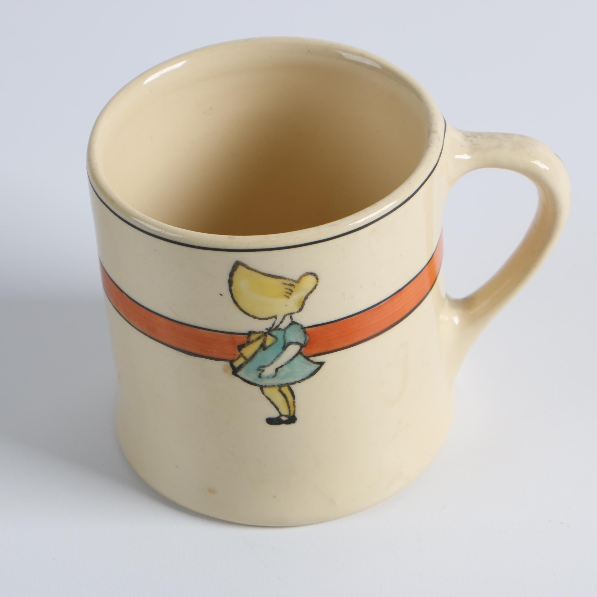 """Early 20th Century Roseville Pottery """"Sunbonnet Girl"""" Creamware Child's Mug"""