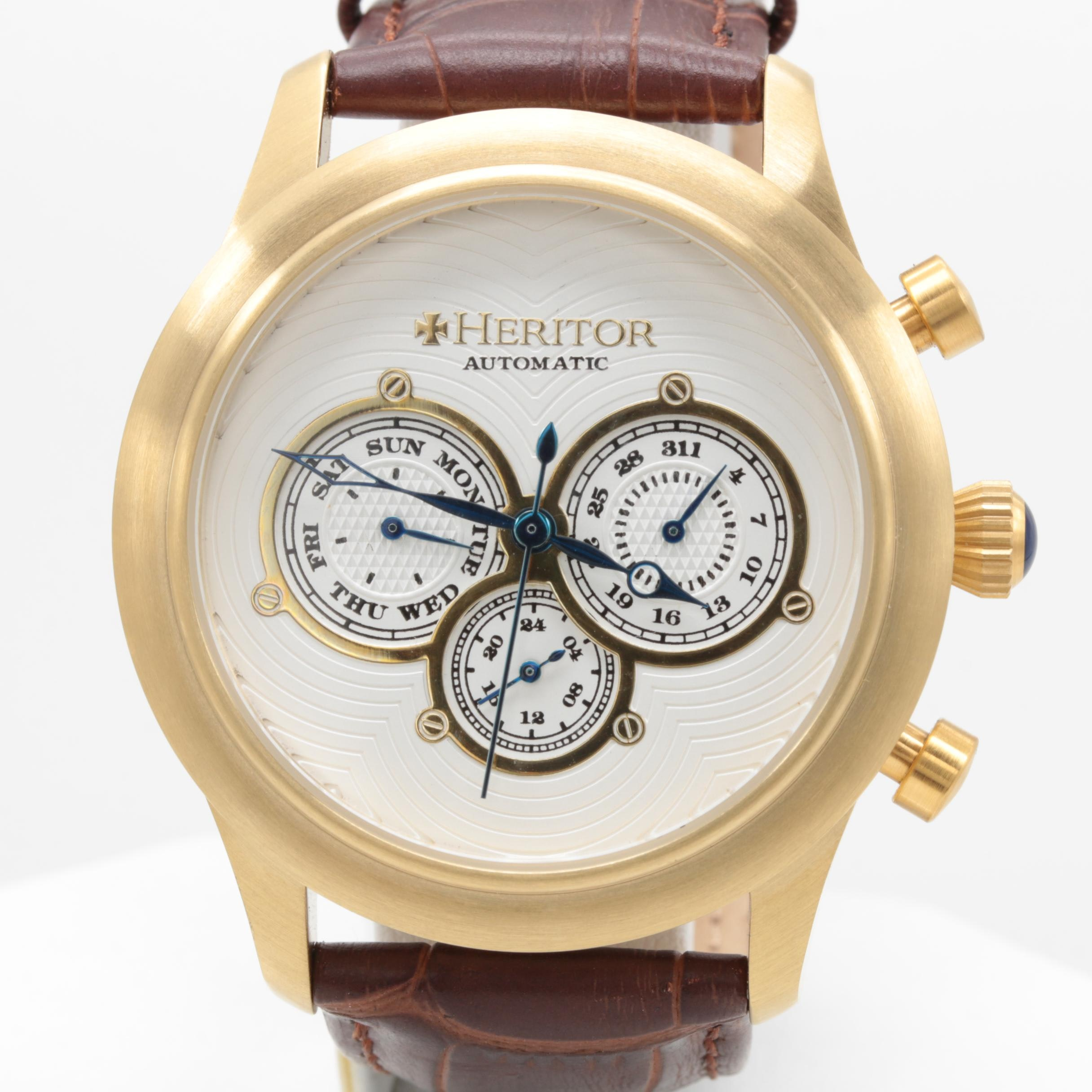 Heritor Gold Tone Stainless Steel Wristwatch with Brown Leather Strap