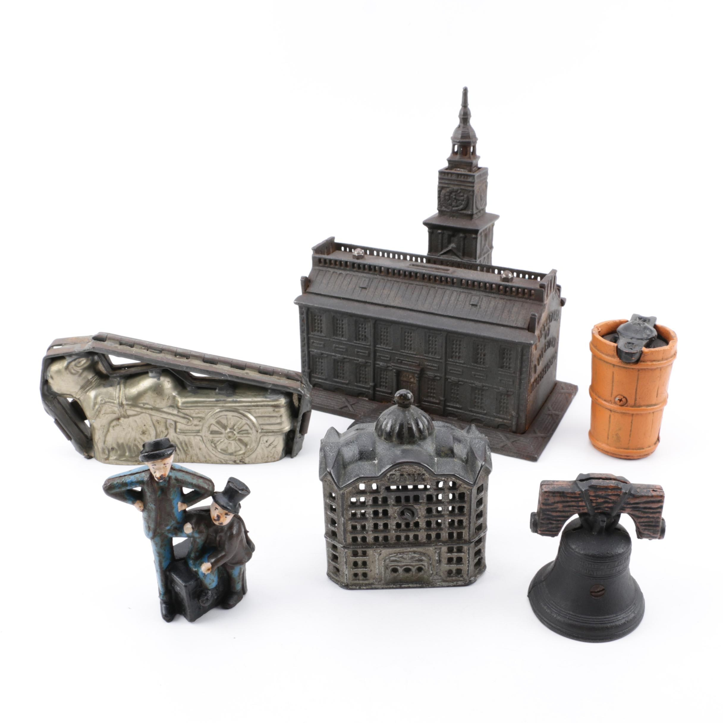 A.F. Terranova Independence Hall Coin Bank with Other Banks and Candy Mold