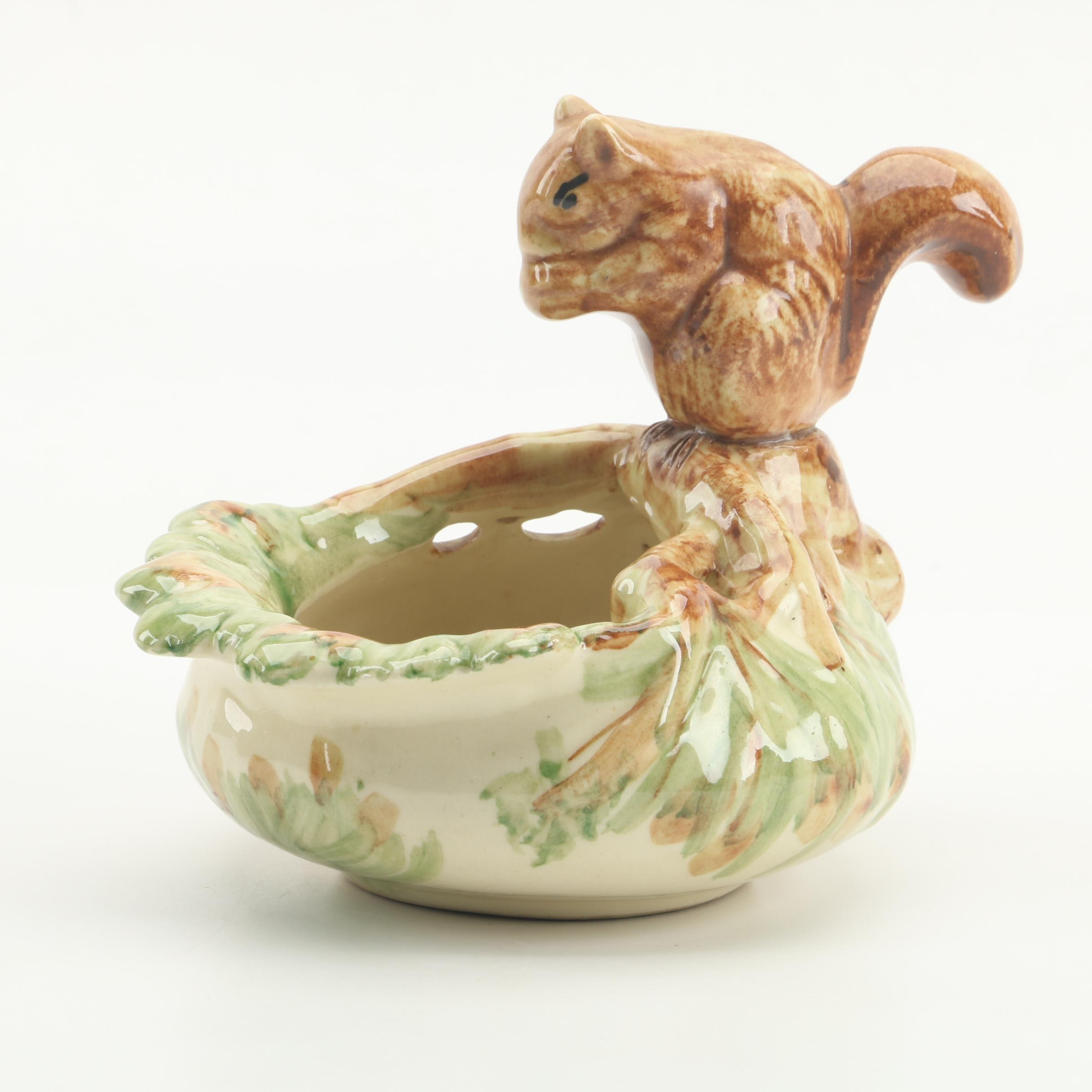 """Weller Pottery """"Woodcraft"""" Squirrel Nut Dish, Early 20th Century"""