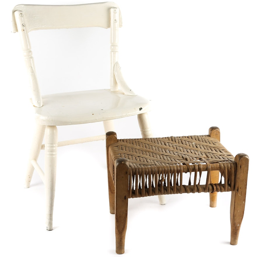 Painted Kids Chair And Wood Foot Stool