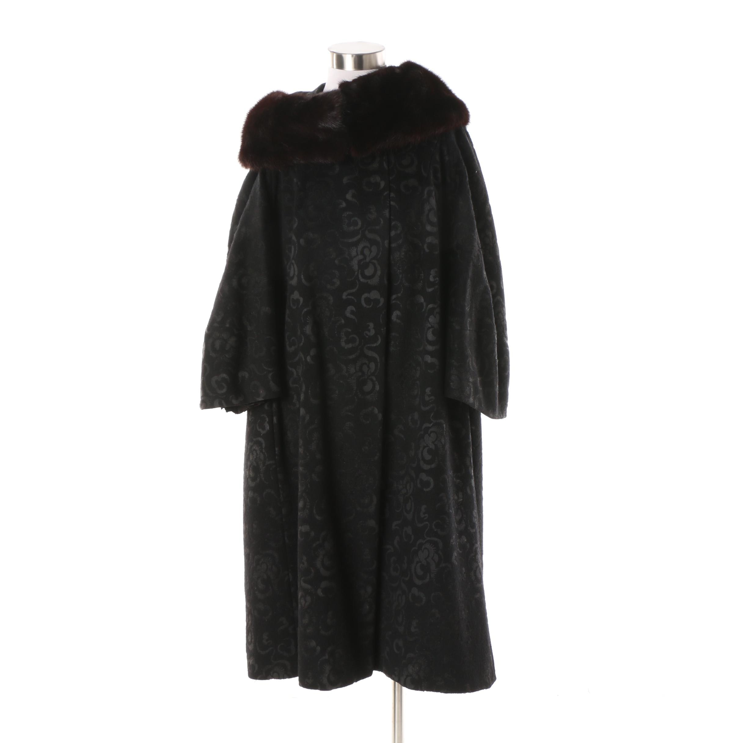 Vintage Blin & Blin Black Floral Stenciled Wool Coat with Mink Fur Collar