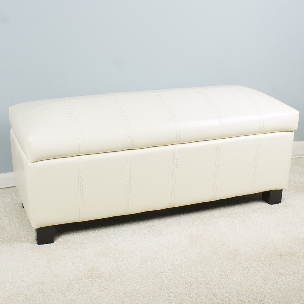 Faux Leather Upholstered Storage Bench